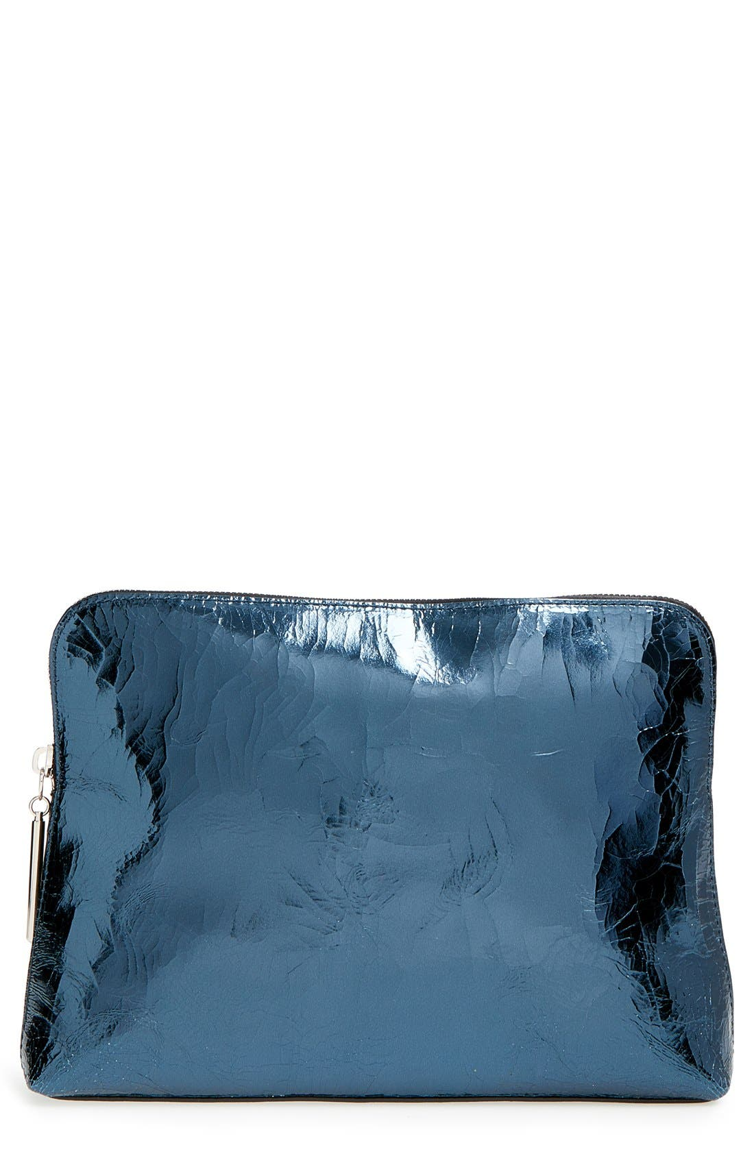 'Medium 31 Minute' Metallic Leather Pouch, Main, color, 400