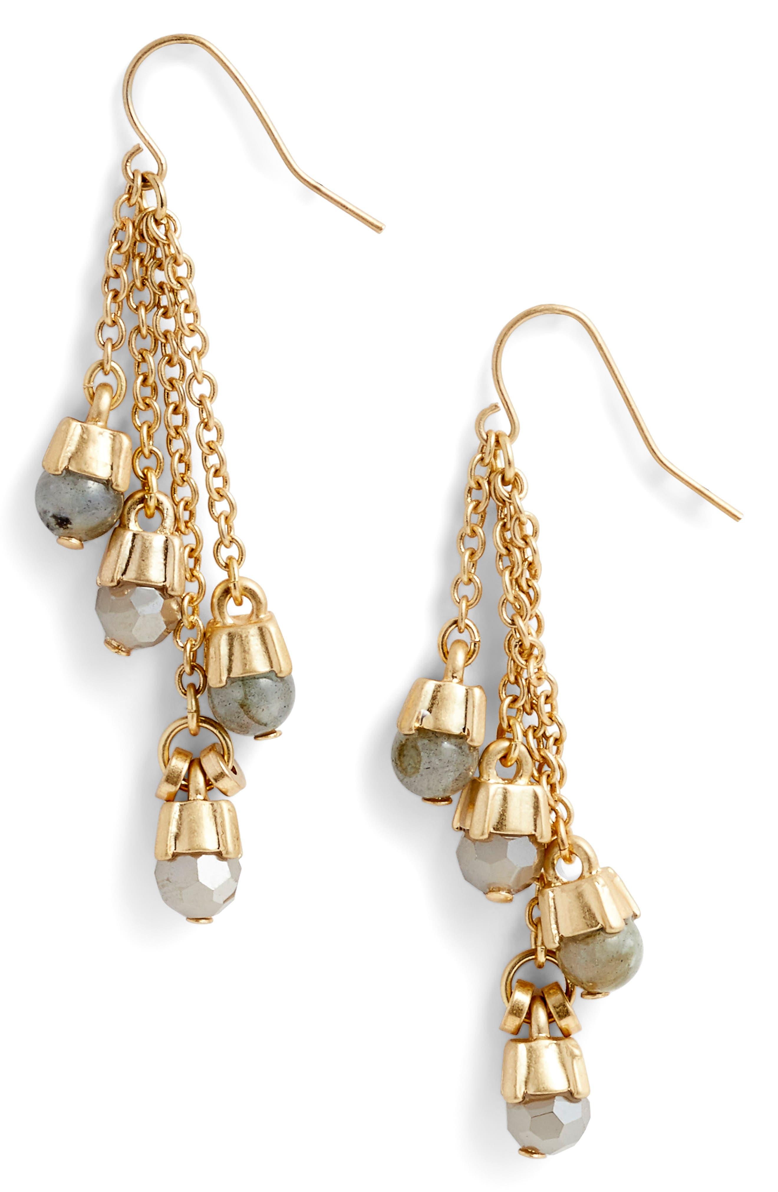 Four-Stone Linear Drop Earrings,                         Main,                         color, 030
