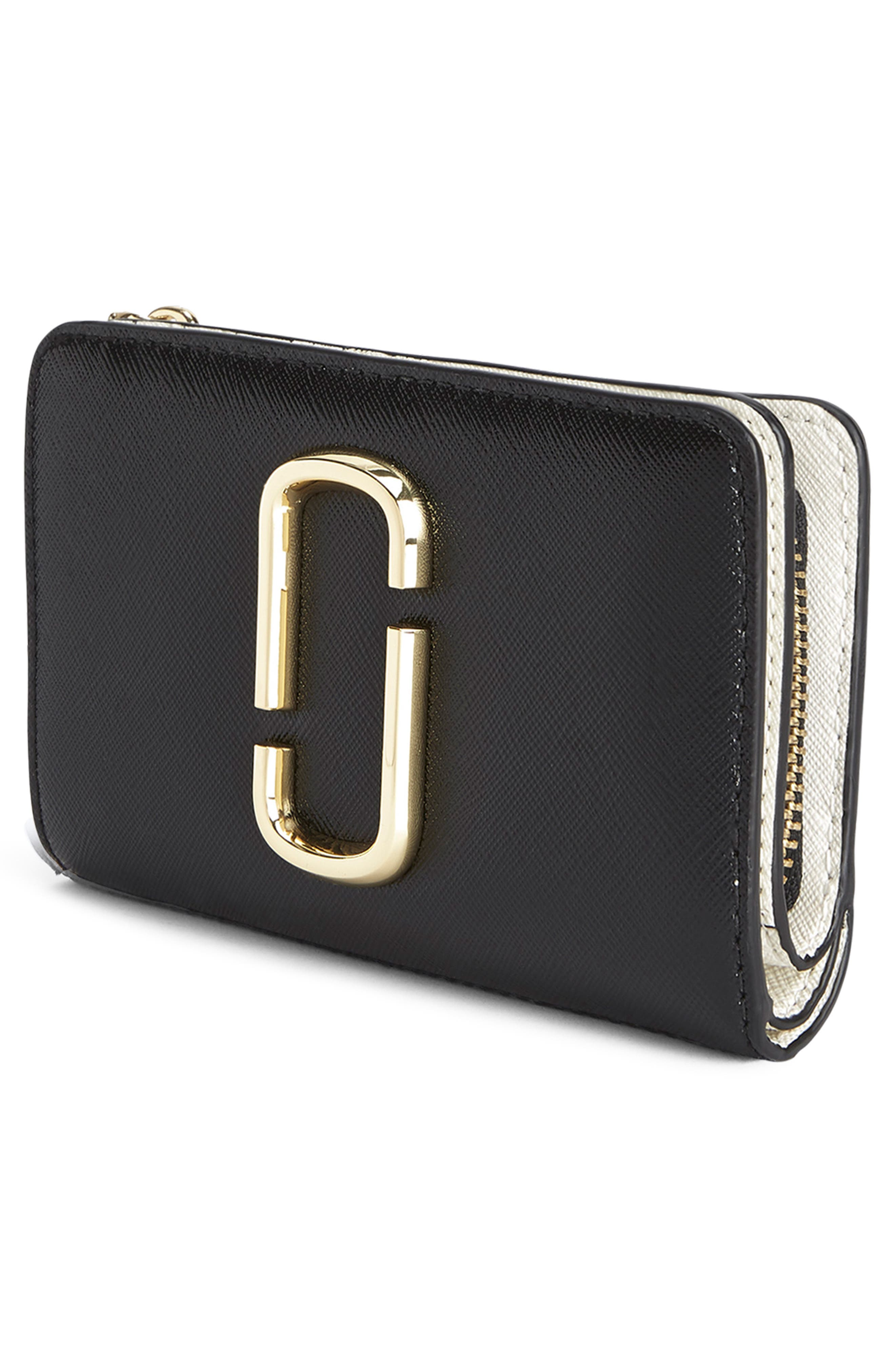 Snapshot Leather Compact Wallet,                             Alternate thumbnail 4, color,                             BLACK MULTI