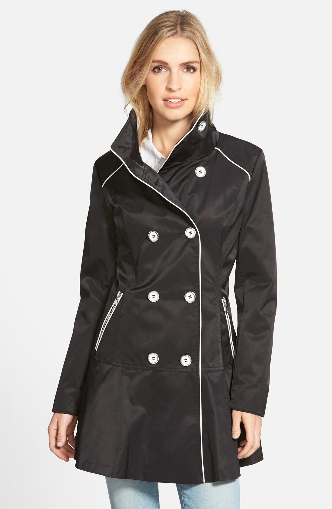 Piped Stand Collar Trench Coat,                             Main thumbnail 1, color,                             001