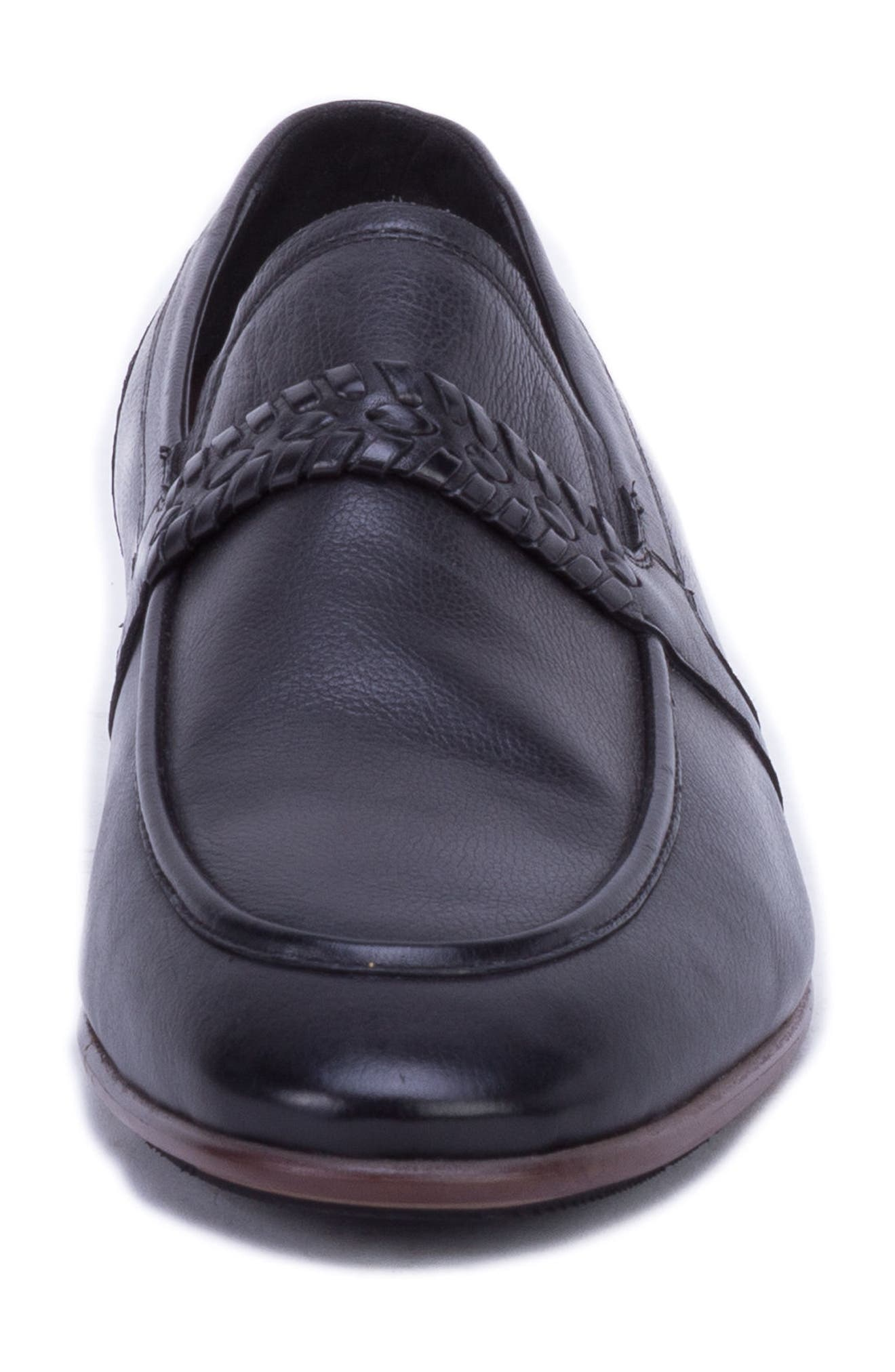 Robinson Whipstitch Apron Toe Loafer,                             Alternate thumbnail 4, color,                             BLACK LEATHER
