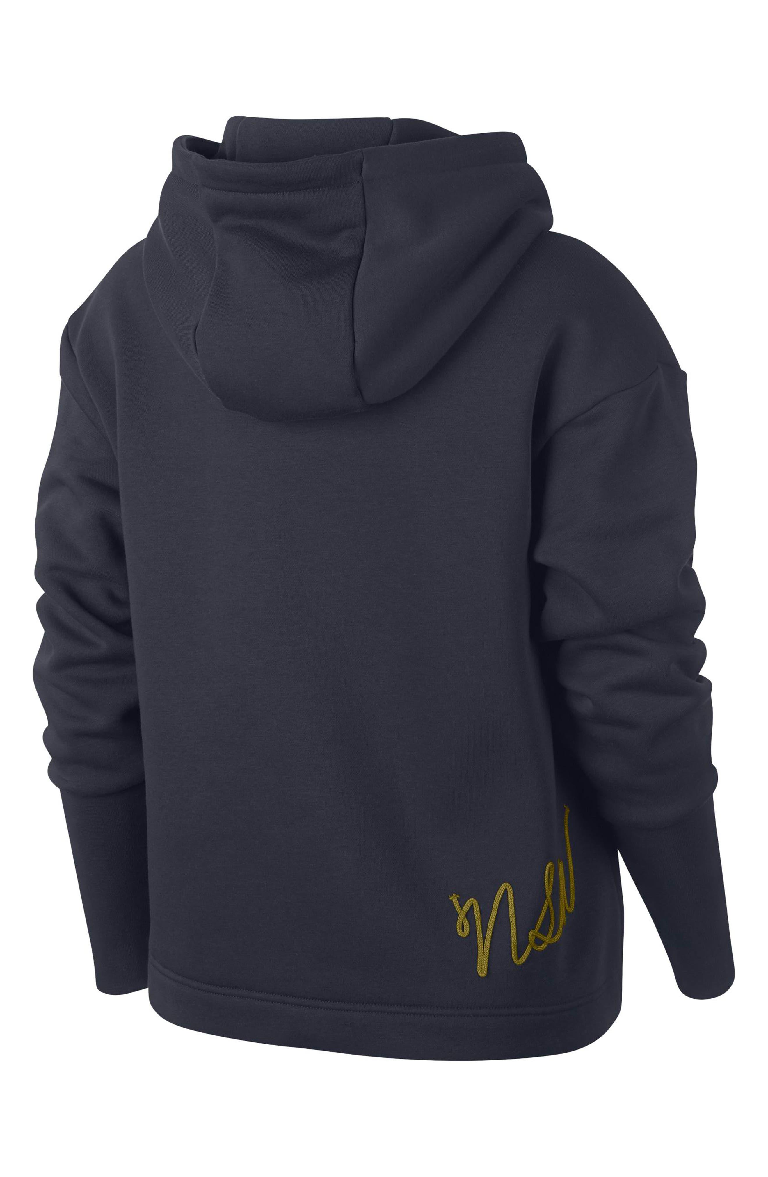 NIKE,                             Sportswear NSW Women's Fleece Hoodie,                             Alternate thumbnail 6, color,                             DARK OBSIDIAN/ OLIVE