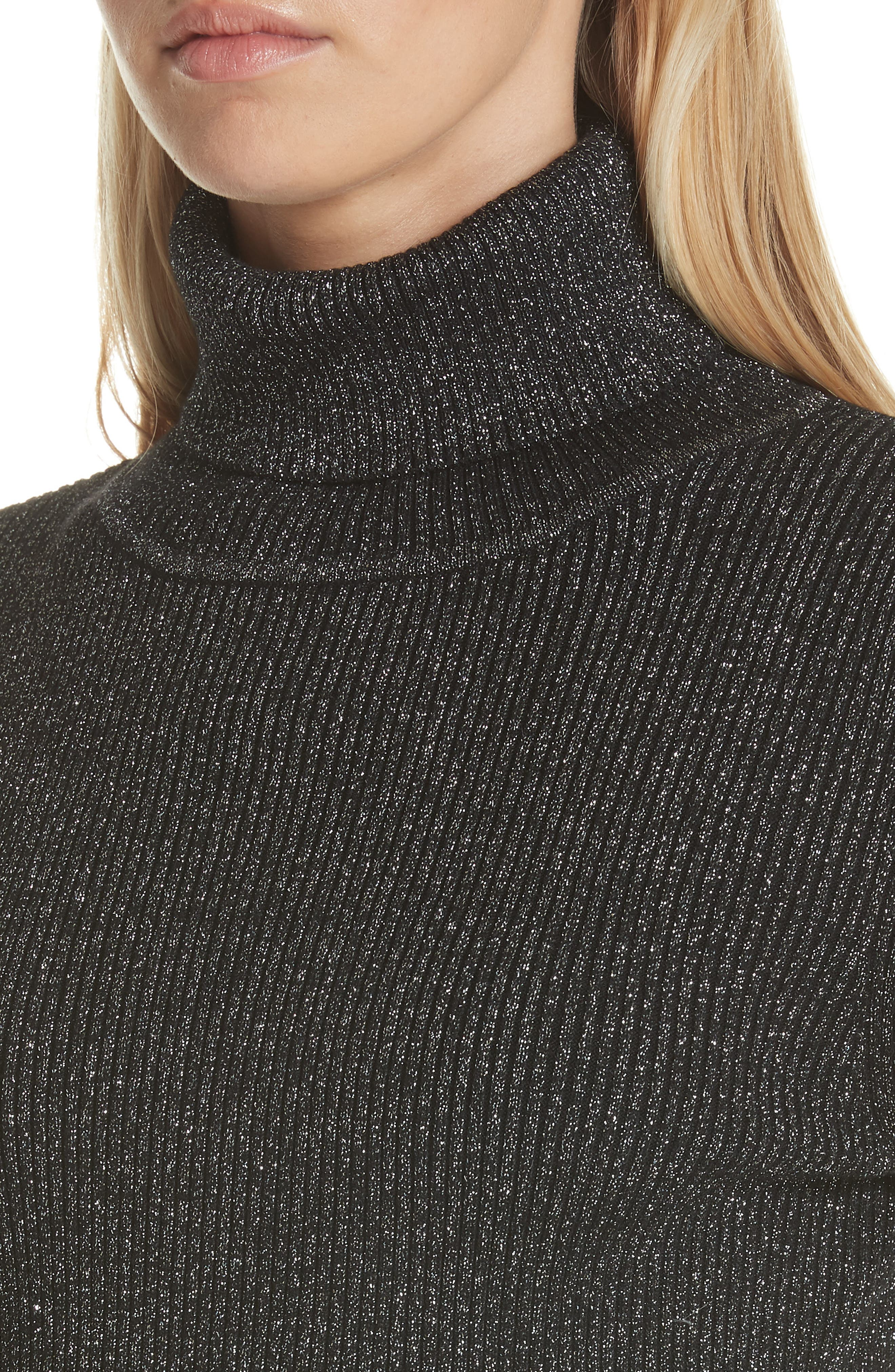 Metallic Ribbed Turtleneck Sweater,                             Alternate thumbnail 4, color,                             BLACK/ SILVER