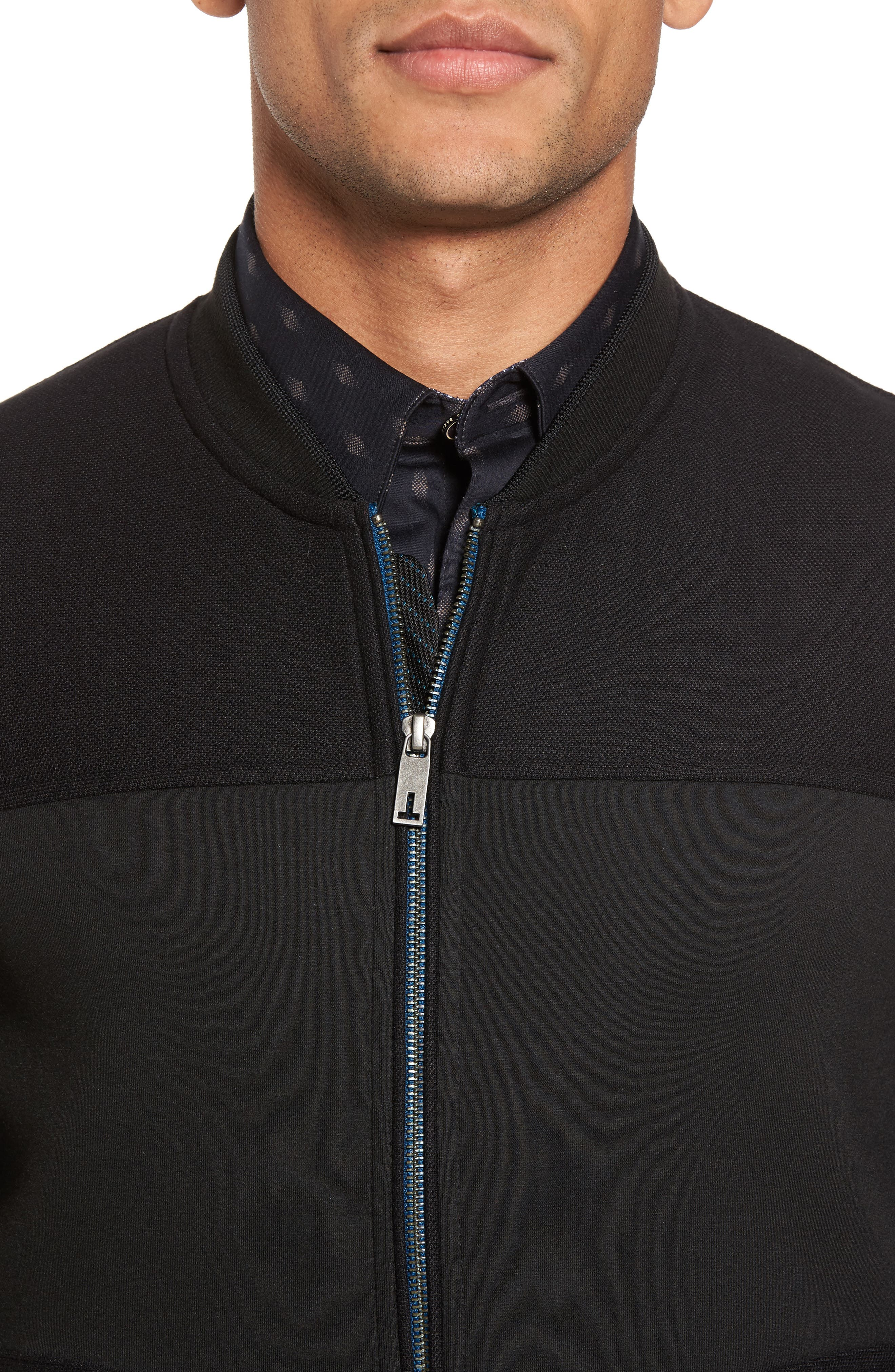 Outme Trim Textured Bomber,                             Alternate thumbnail 4, color,                             001