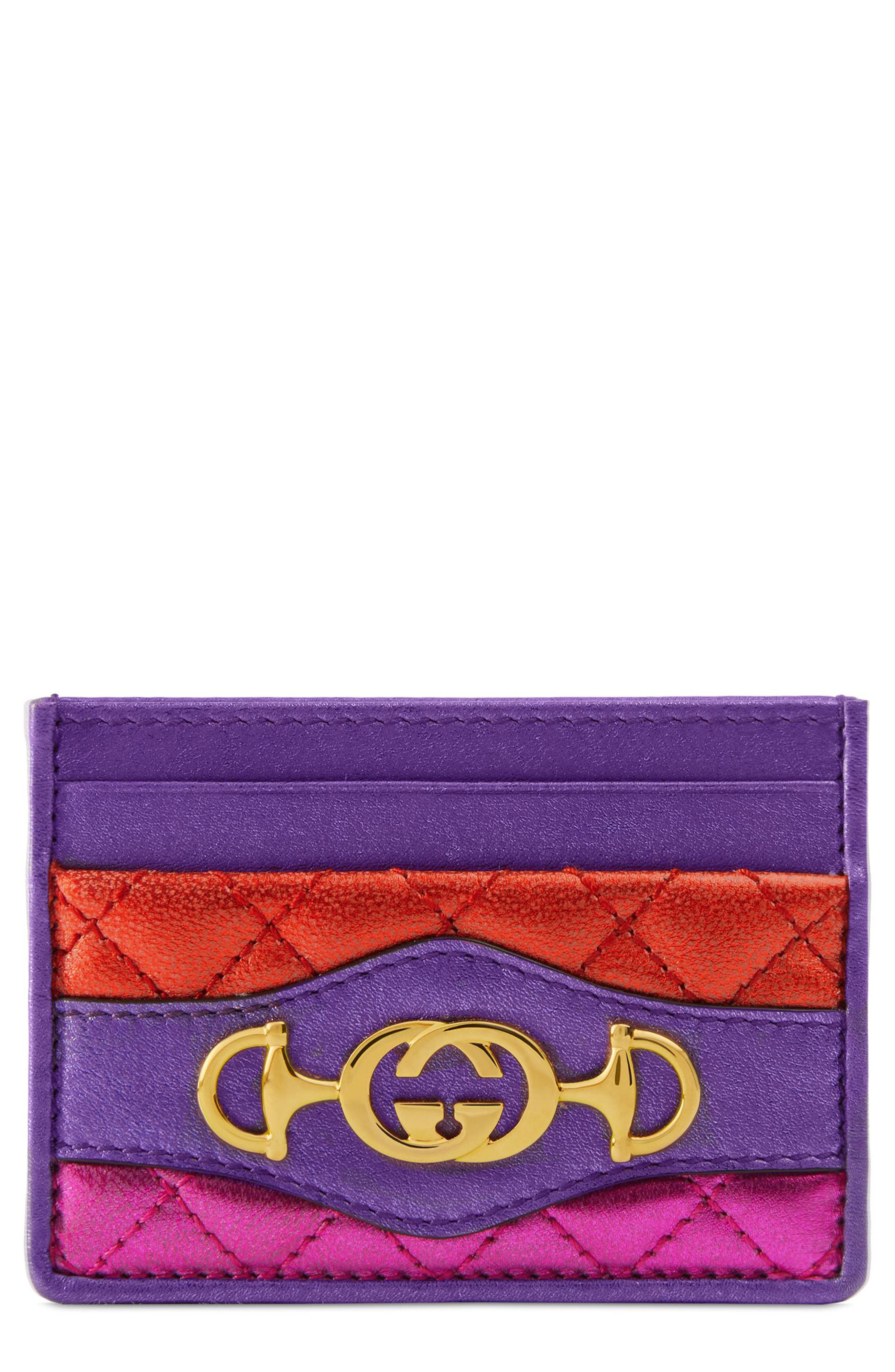 Quilted Metallic Leather Card Case,                         Main,                         color, ROSSO/ FUXIA