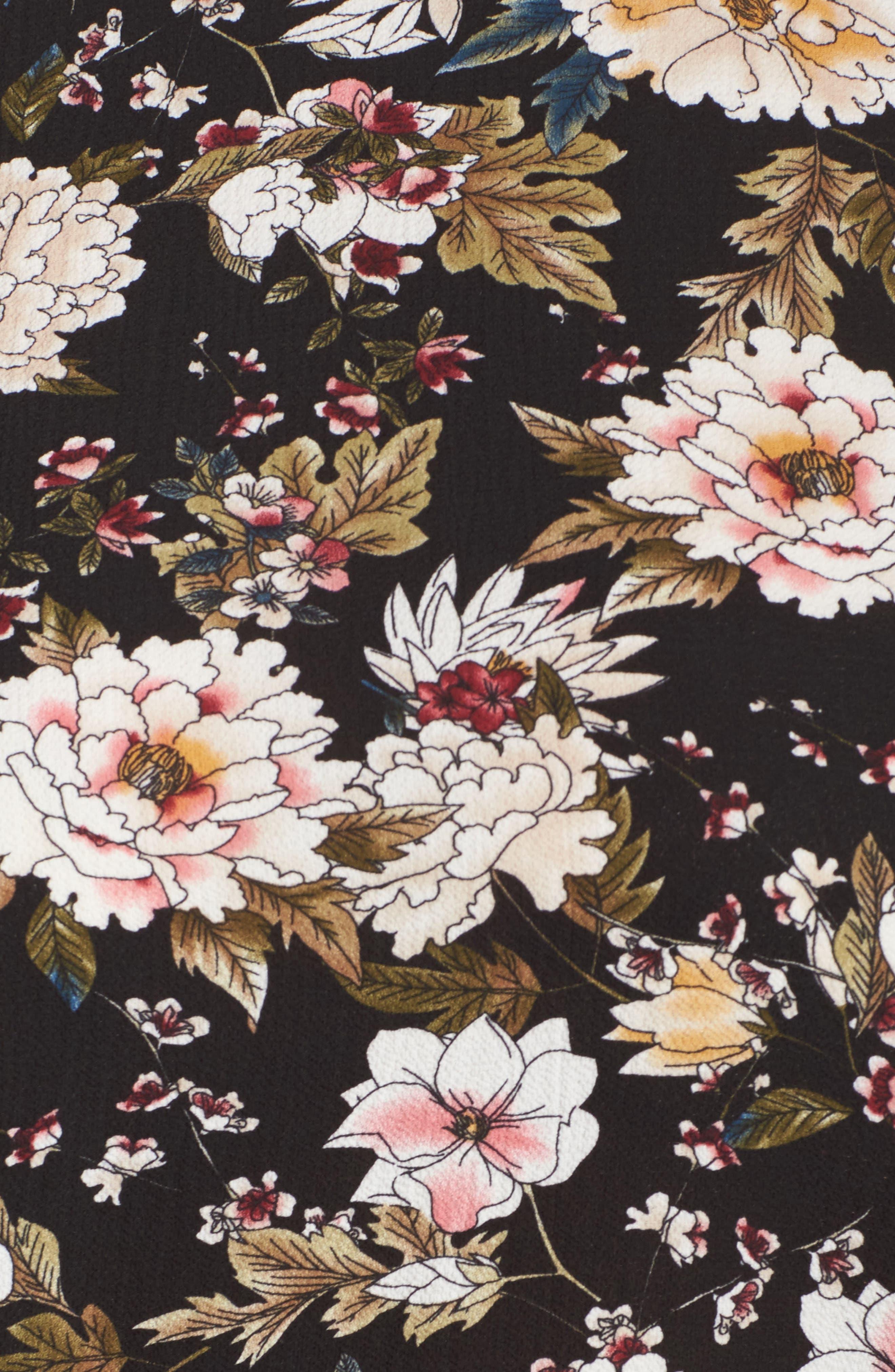 Floral Print Split Sleeve Blouse,                             Alternate thumbnail 5, color,                             006
