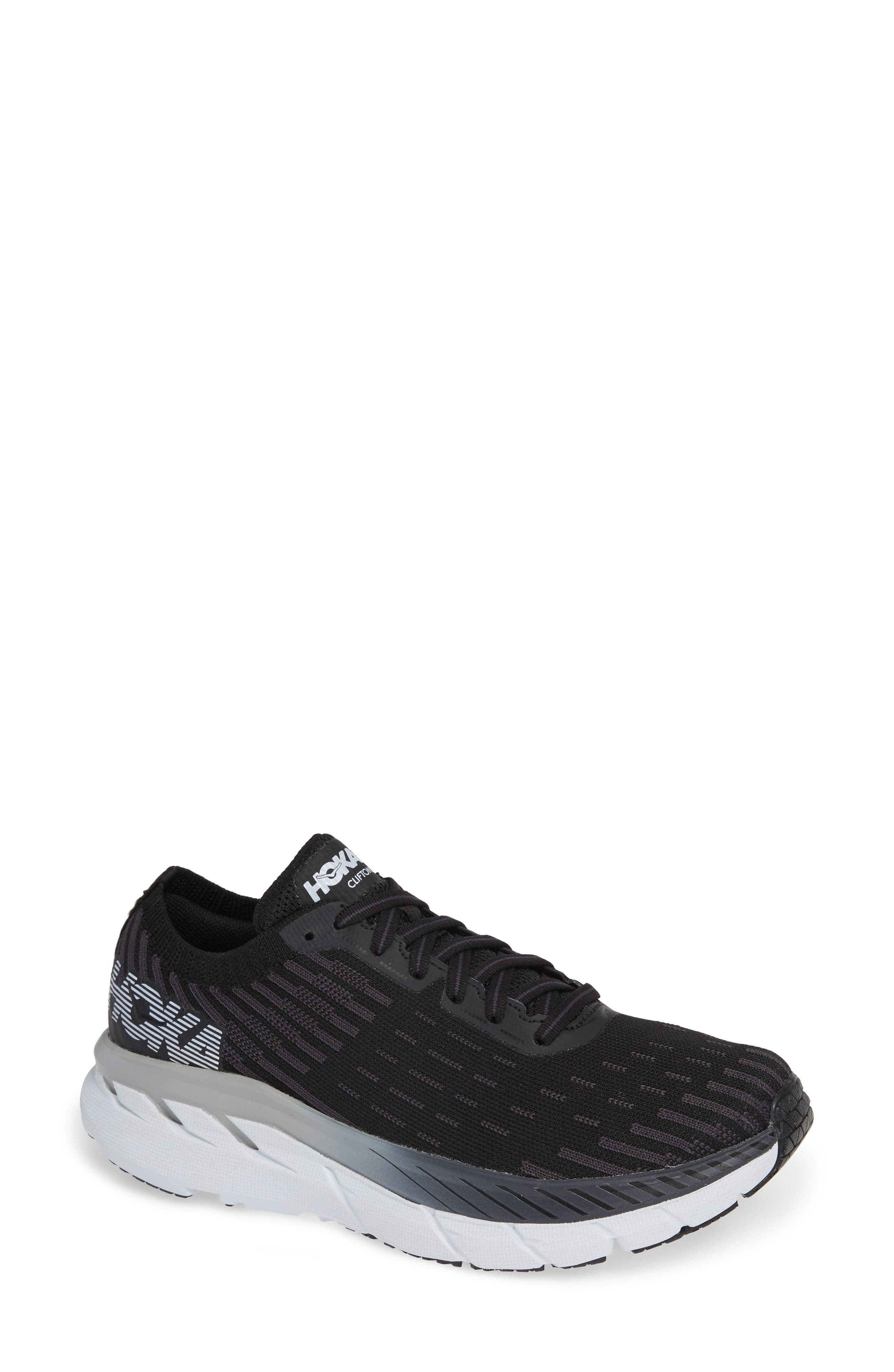HOKA ONE ONE Clifton 5 Knit Running Shoe in Black/ White