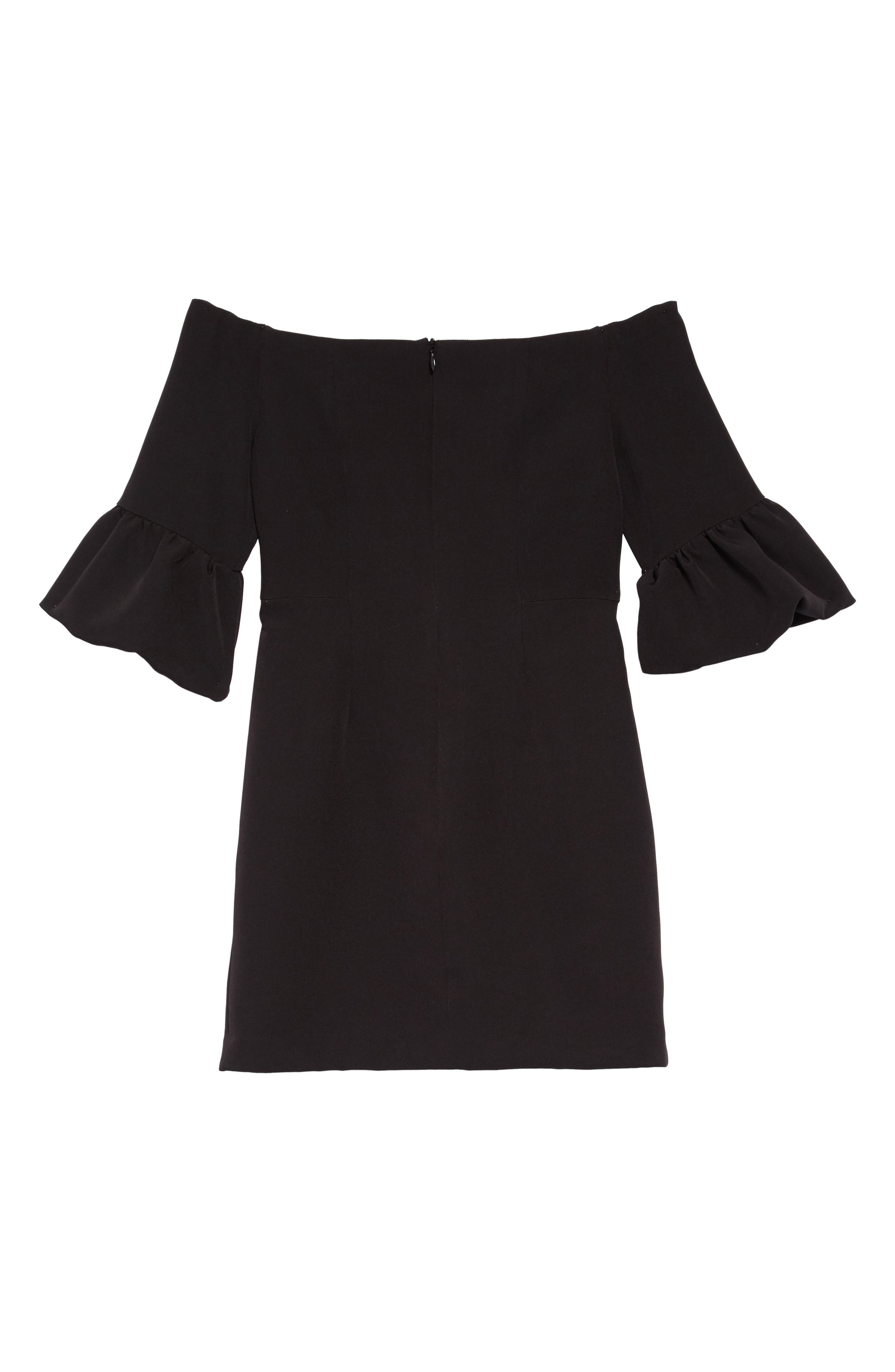 Samantha Ruffle Sleeve Dress,                             Alternate thumbnail 2, color,                             BLACK