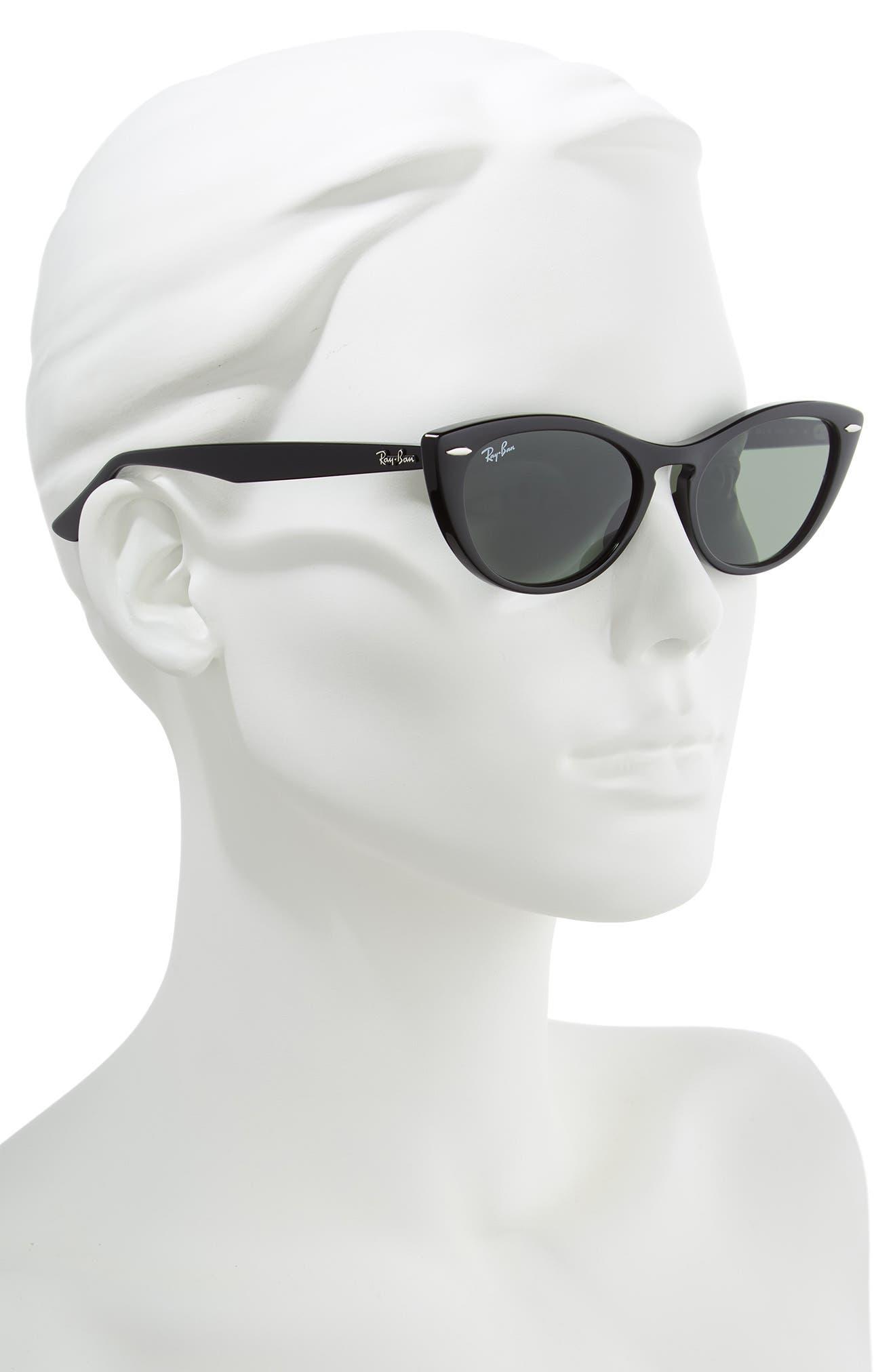Nina 54mm Cat Eye Sunglasses,                             Alternate thumbnail 2, color,                             BLACK/ GREEN SOLID