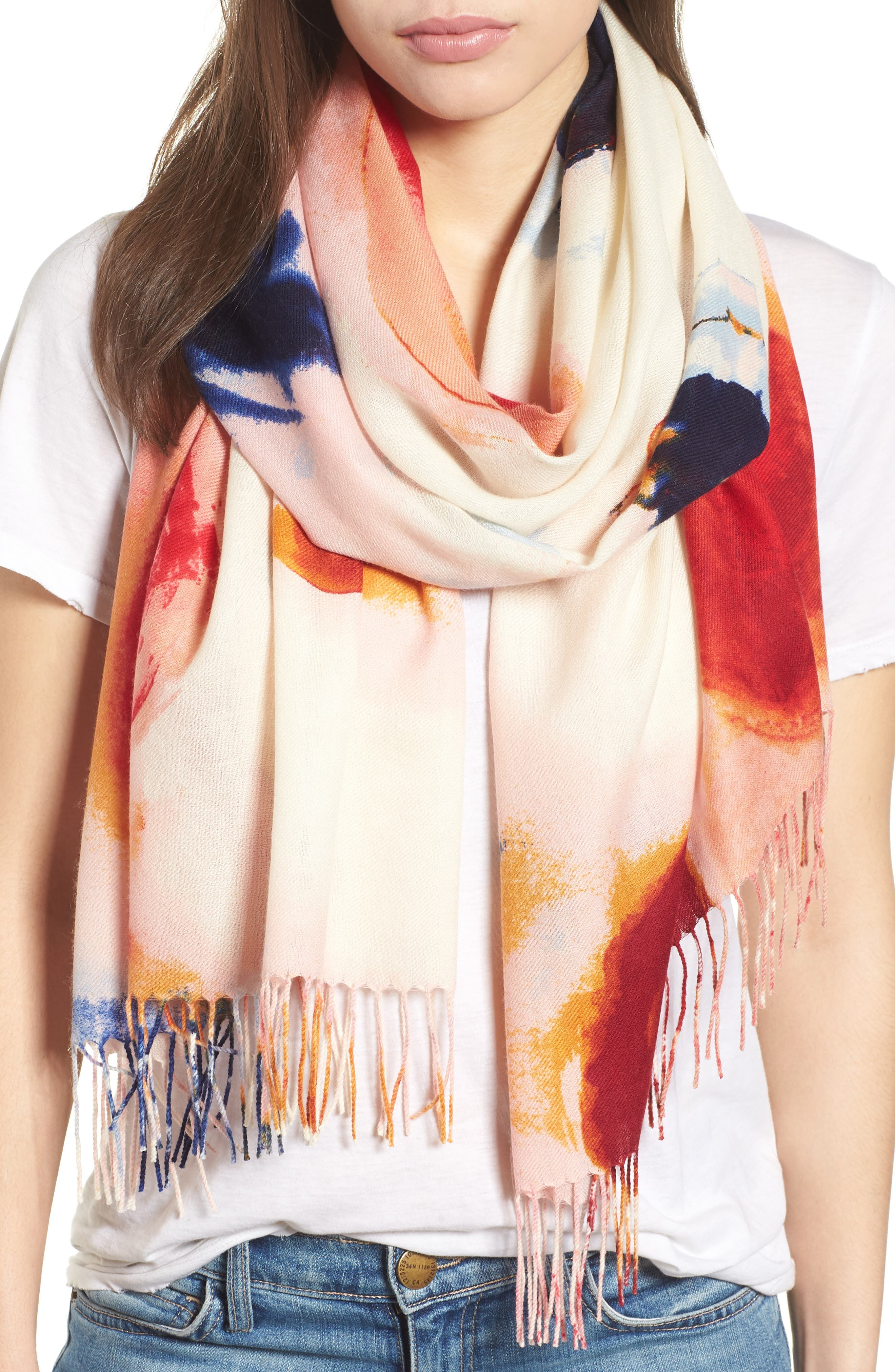 Tissue Print Wool & Cashmere Wrap Scarf,                         Main,                         color, PINK FANTASY BRUSHSTROKES
