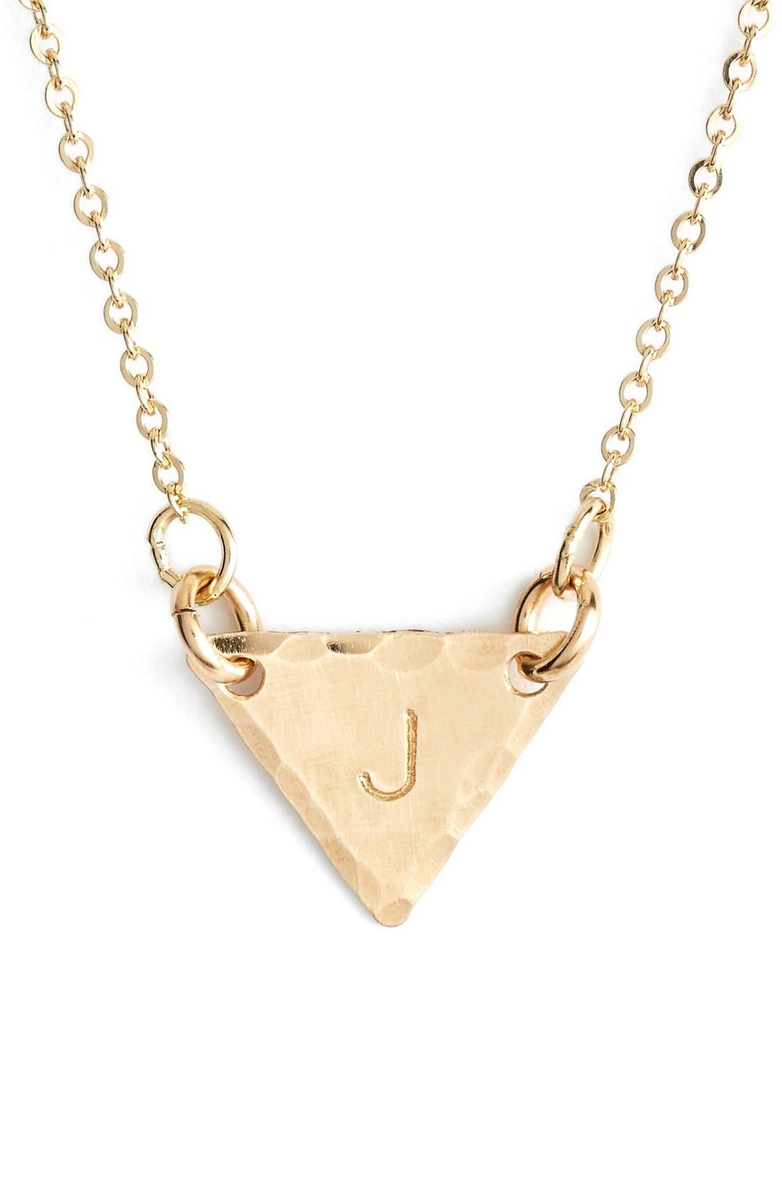14k-Gold Fill Initial Triangle Necklace,                             Main thumbnail 10, color,