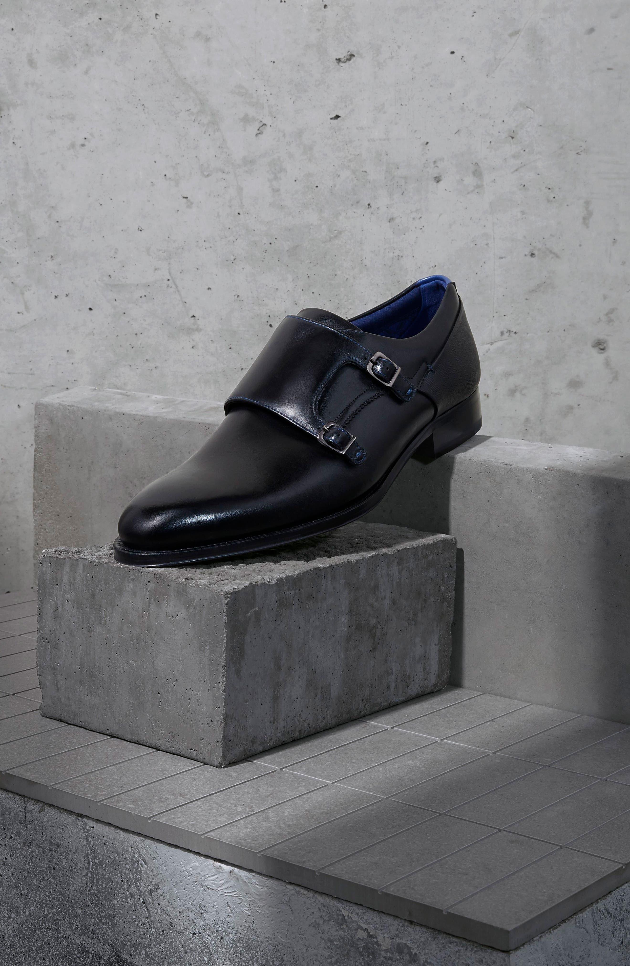 Cathon Double Buckle Monk Shoe,                             Alternate thumbnail 7, color,                             BLACK LEATHER