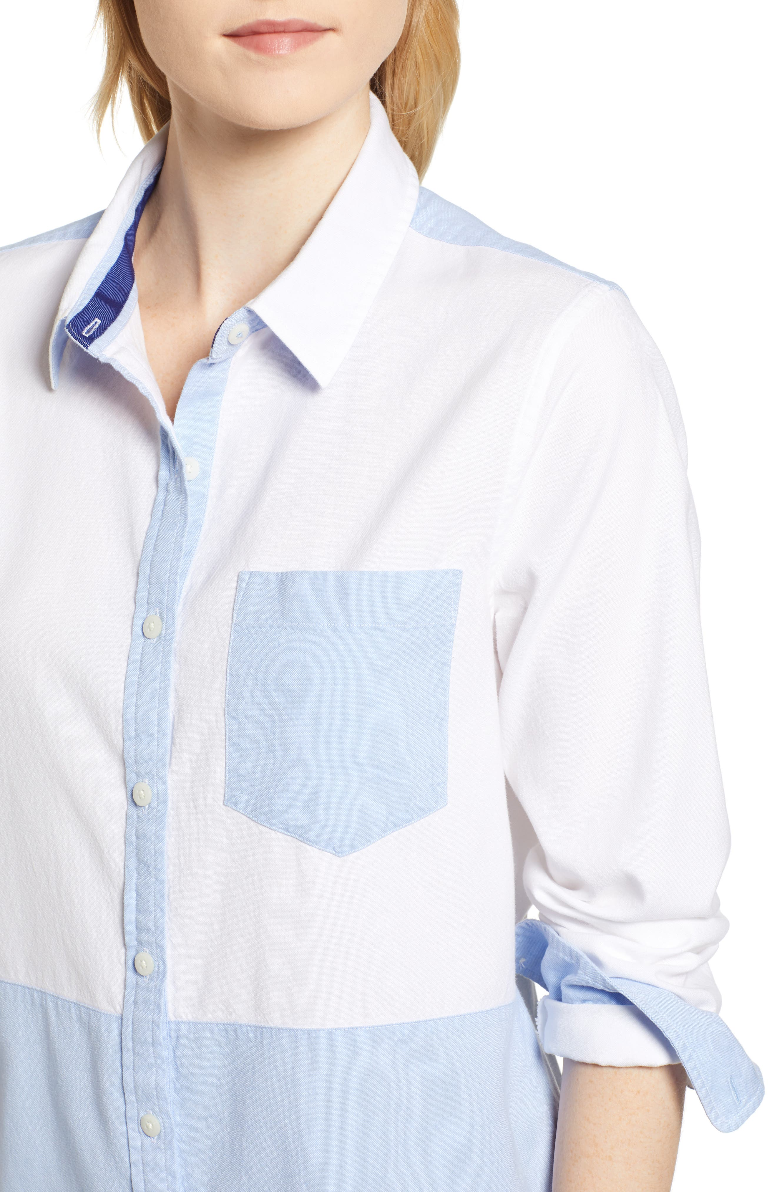 Colorblock Relaxed Oxford Blouse,                             Alternate thumbnail 4, color,                             WHITE CAP