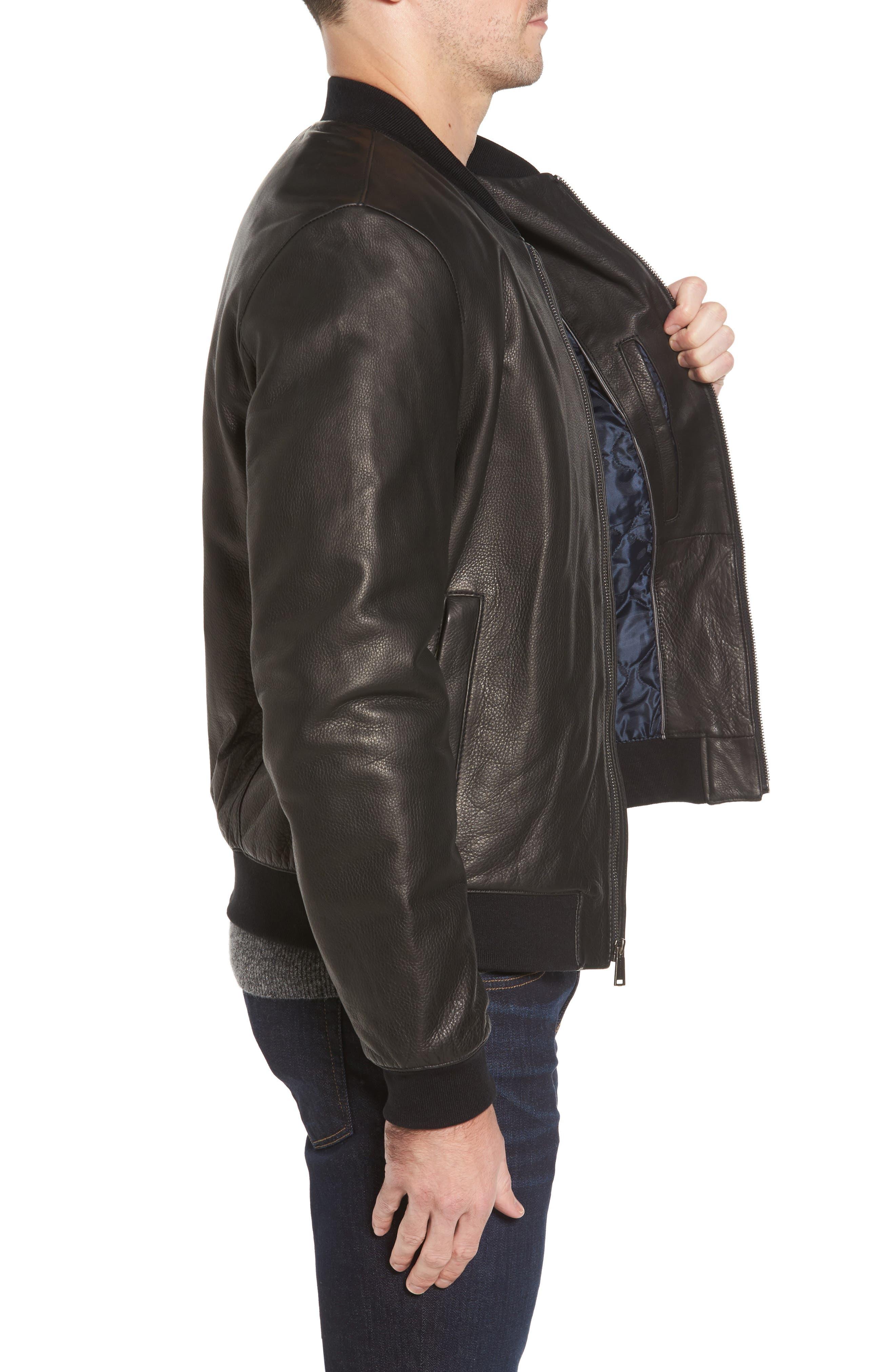 Leather Varsity Jacket,                             Alternate thumbnail 3, color,