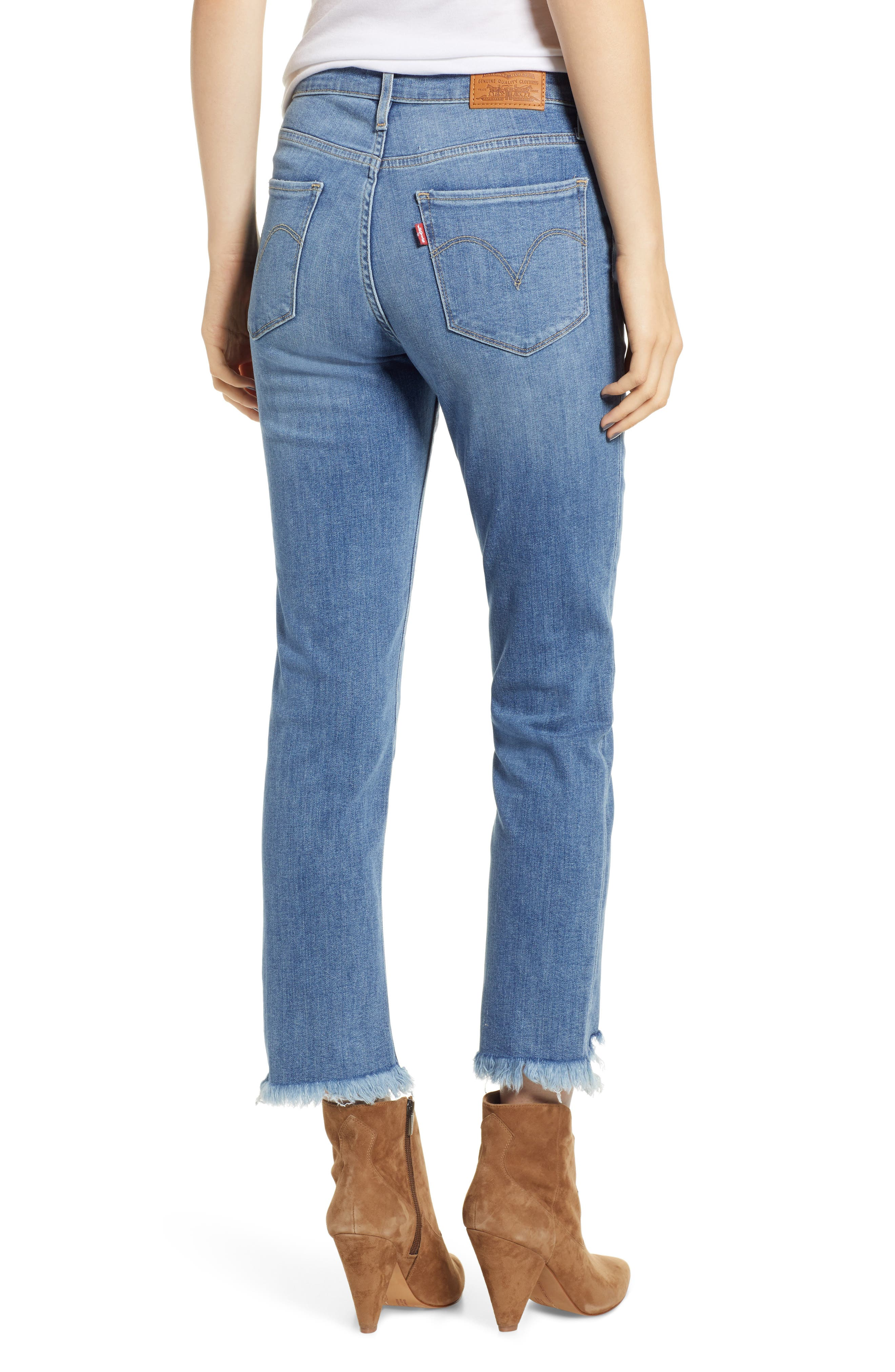724<sup>™</sup> Ripped High Waist Raw Edge Crop Jeans,                             Alternate thumbnail 2, color,                             420