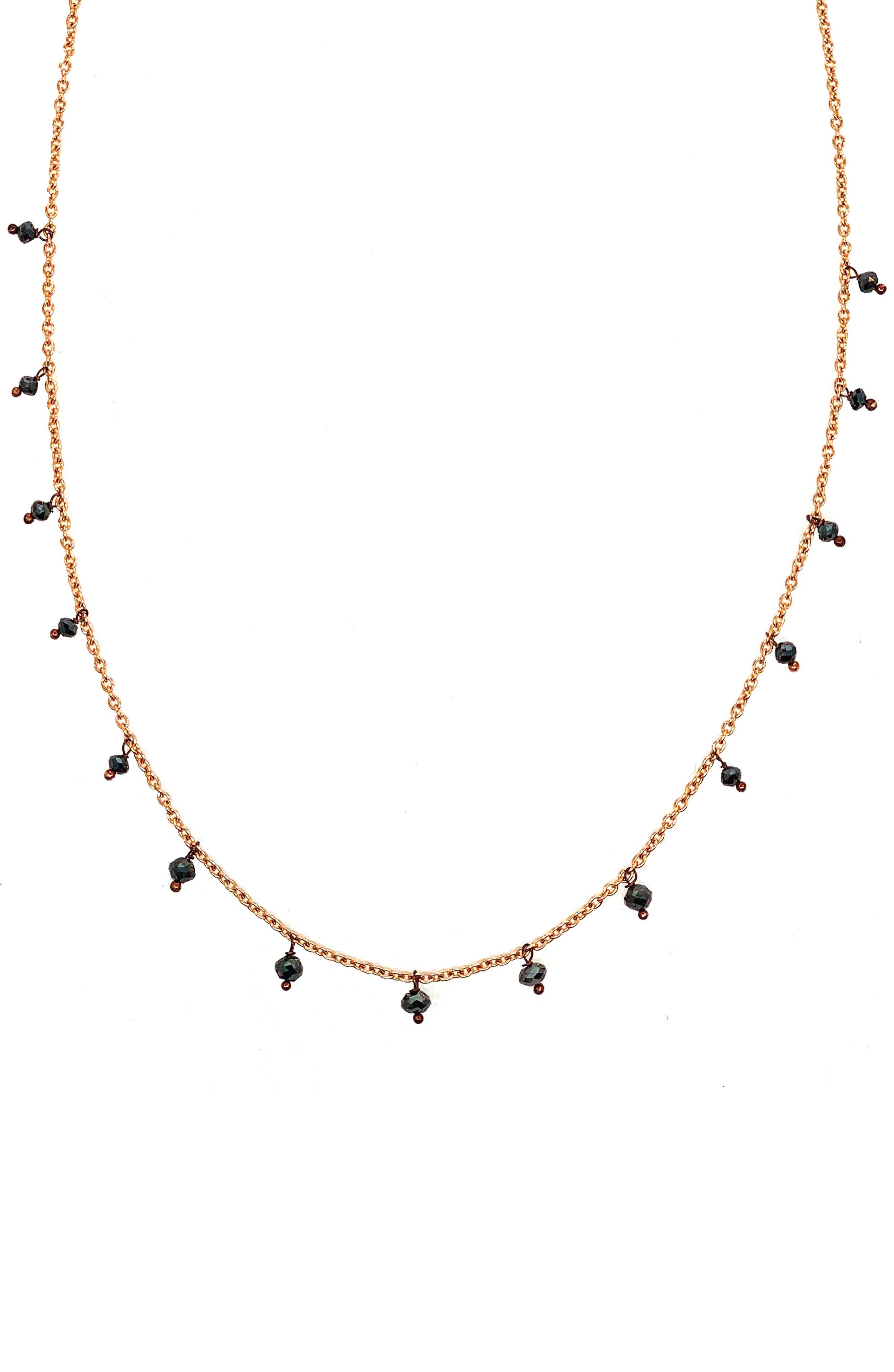 SETHI COUTURE Black Diamond Drop Necklace in Rose Gold/ Diamond