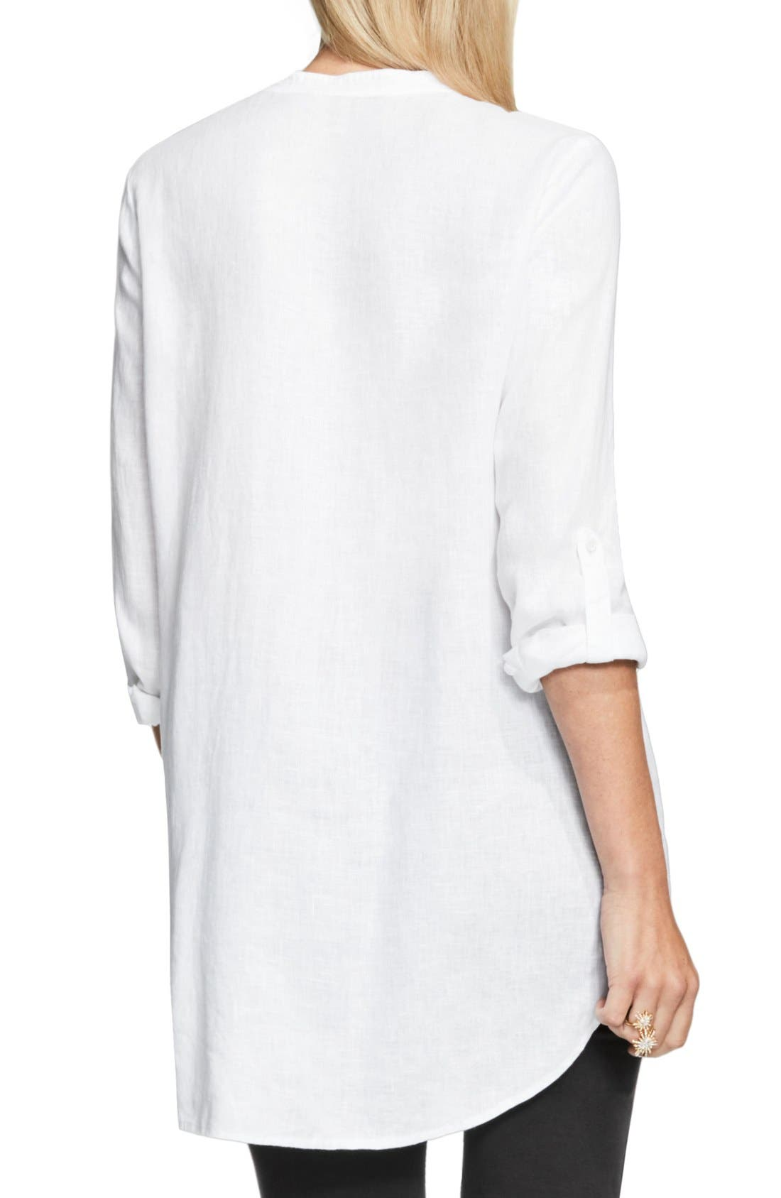 Two by Vince Camuto Collarless Linen Shirt,                             Alternate thumbnail 17, color,