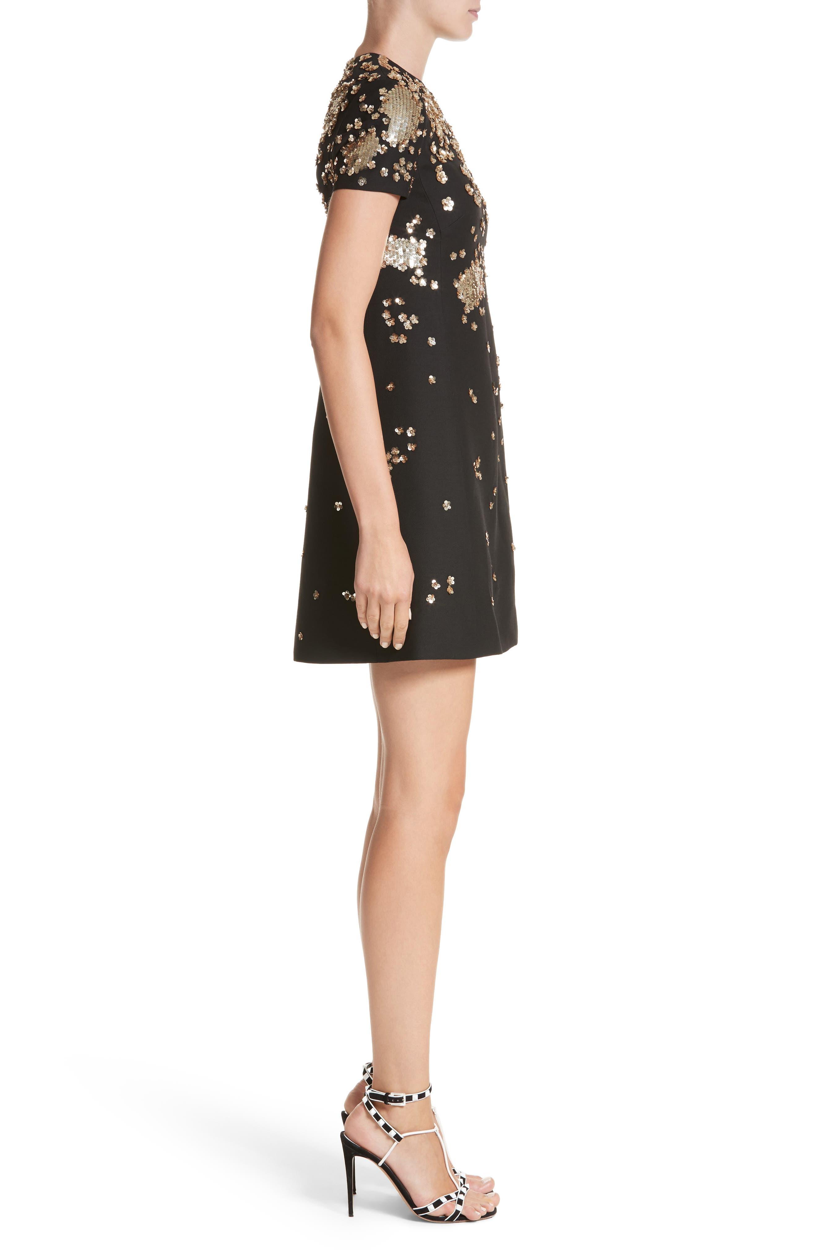 Embellished Wool & Silk Crepe Dress,                             Alternate thumbnail 3, color,                             BLACK
