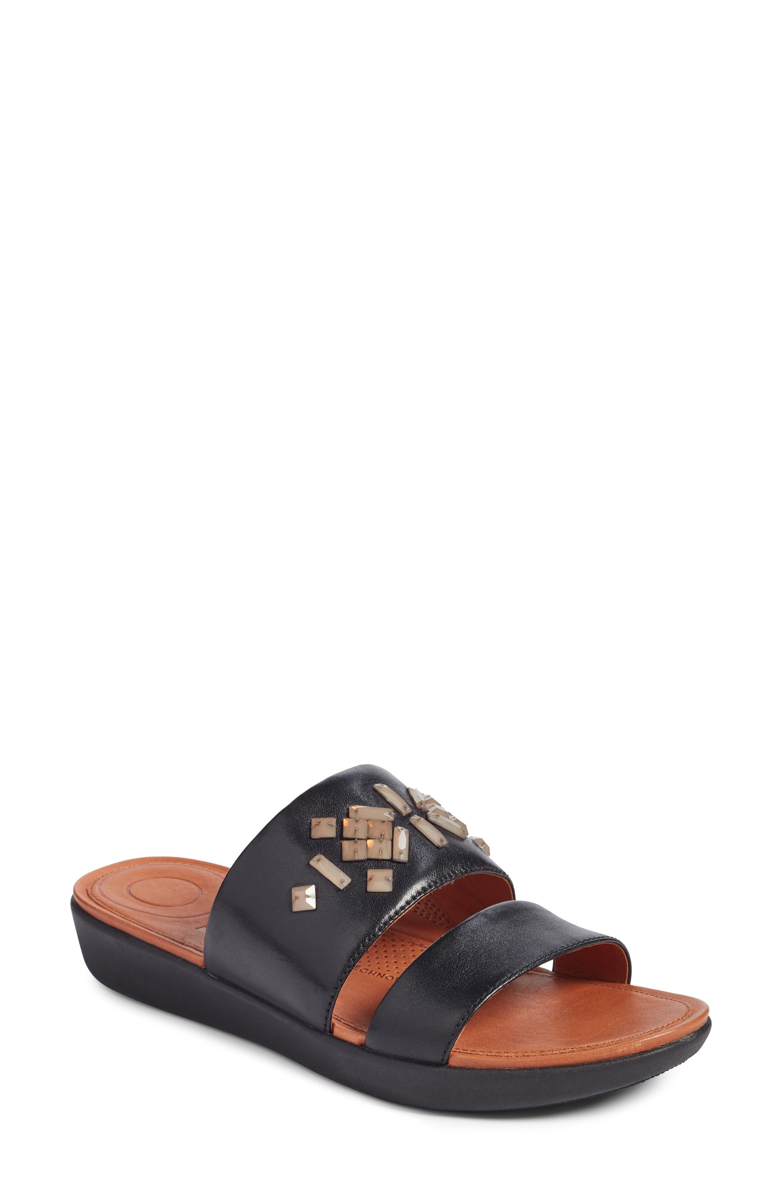 Delta Slide Sandal,                             Main thumbnail 1, color,                             BLACK LEATHER