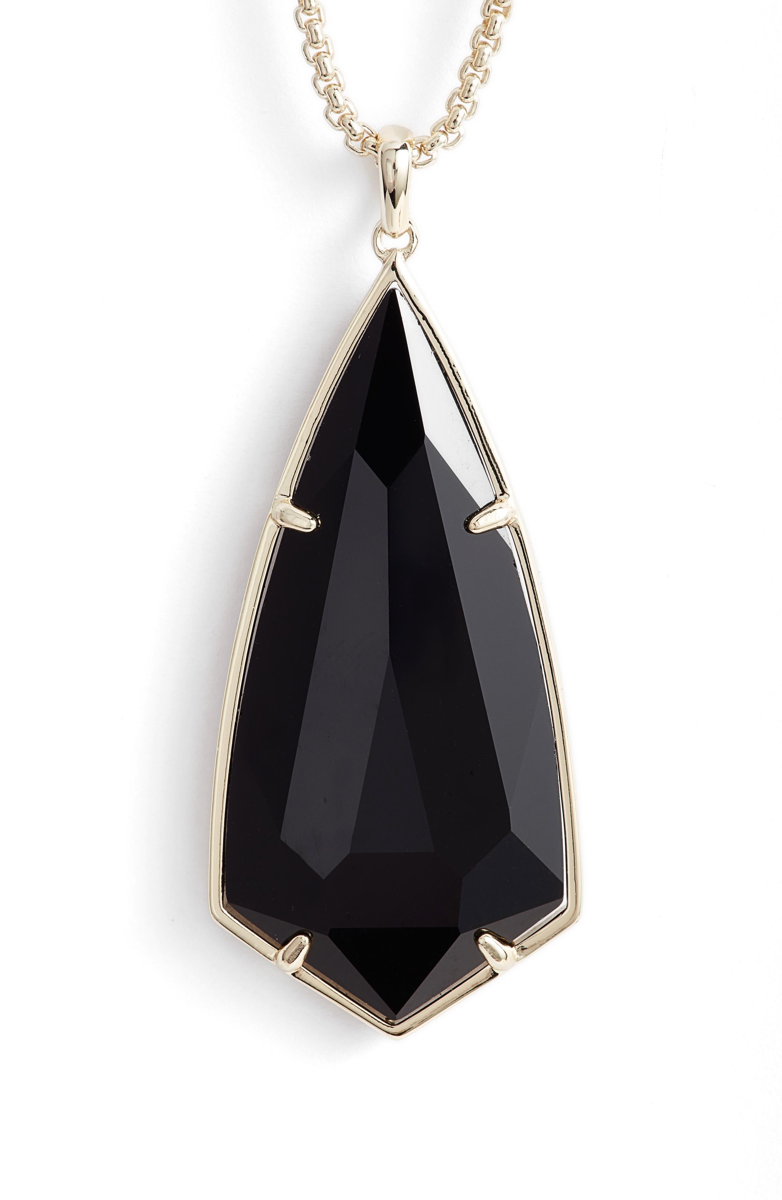 'Carole' Long Semiprecious Stone Pendant Necklace,                             Alternate thumbnail 3, color,                             004