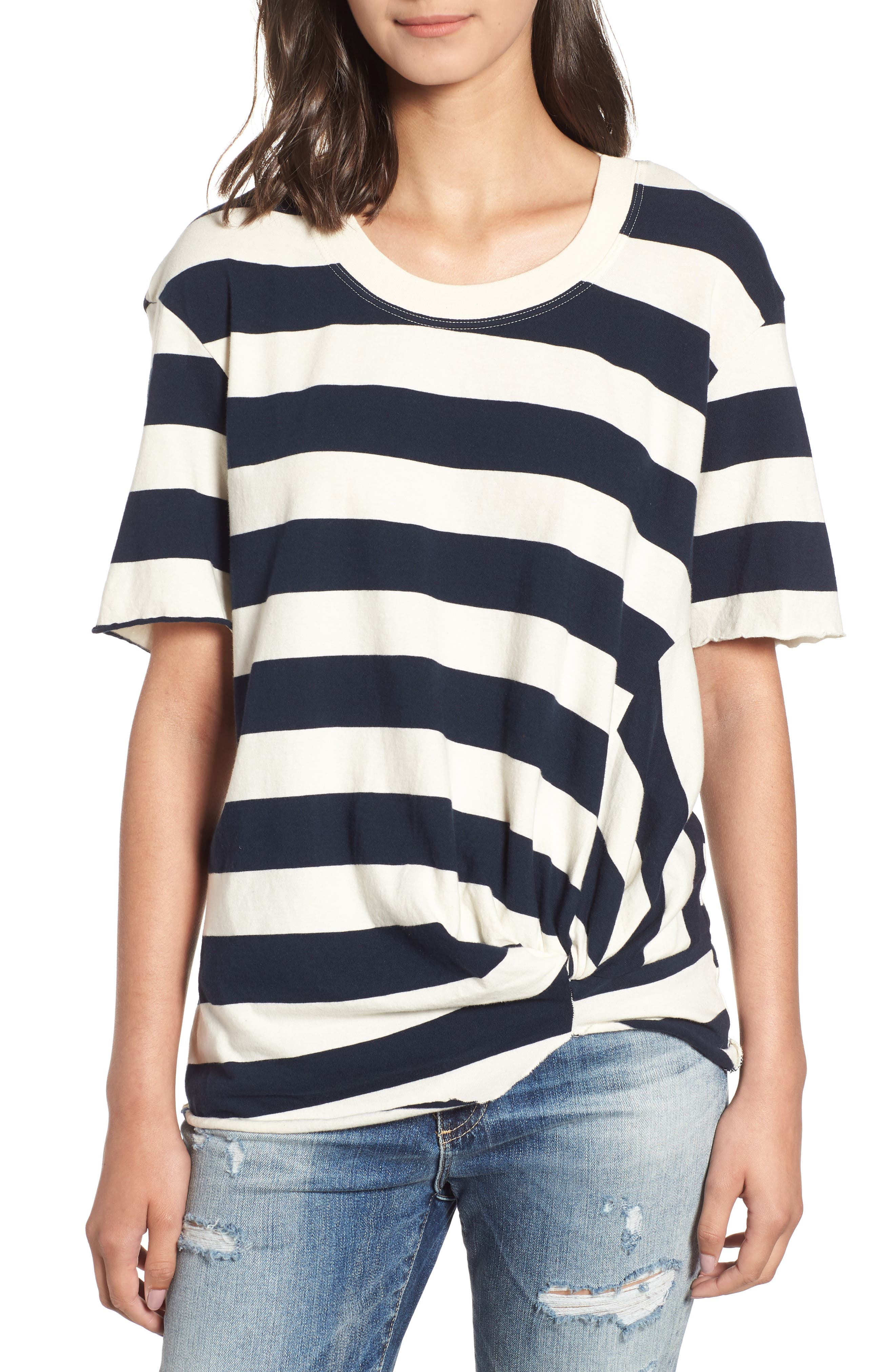Stripe Twist Tee,                         Main,                         color, CREAM
