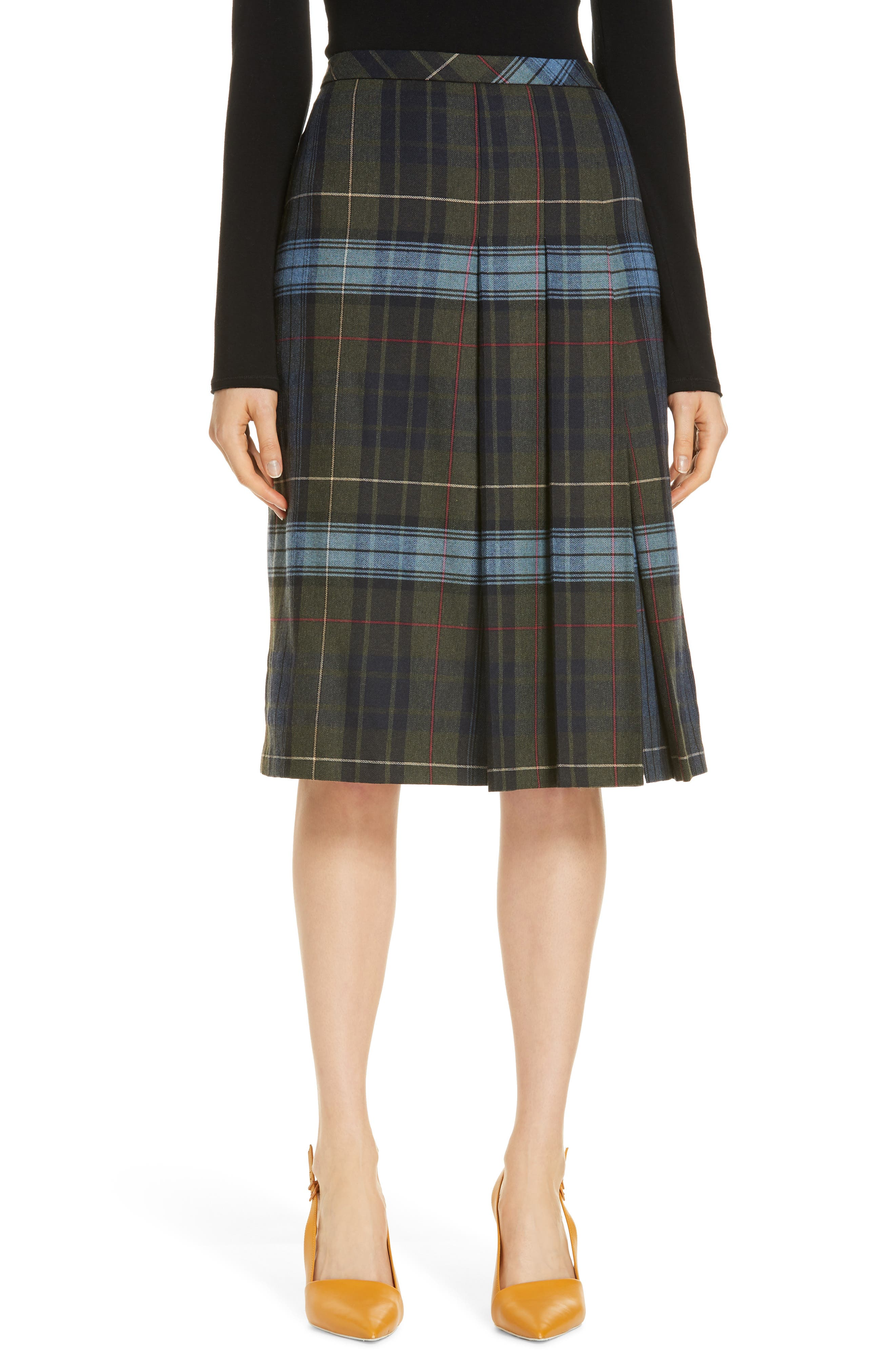 Pleat Front Plaid Skirt,                         Main,                         color, NAVY NIGHT YORK PLAID