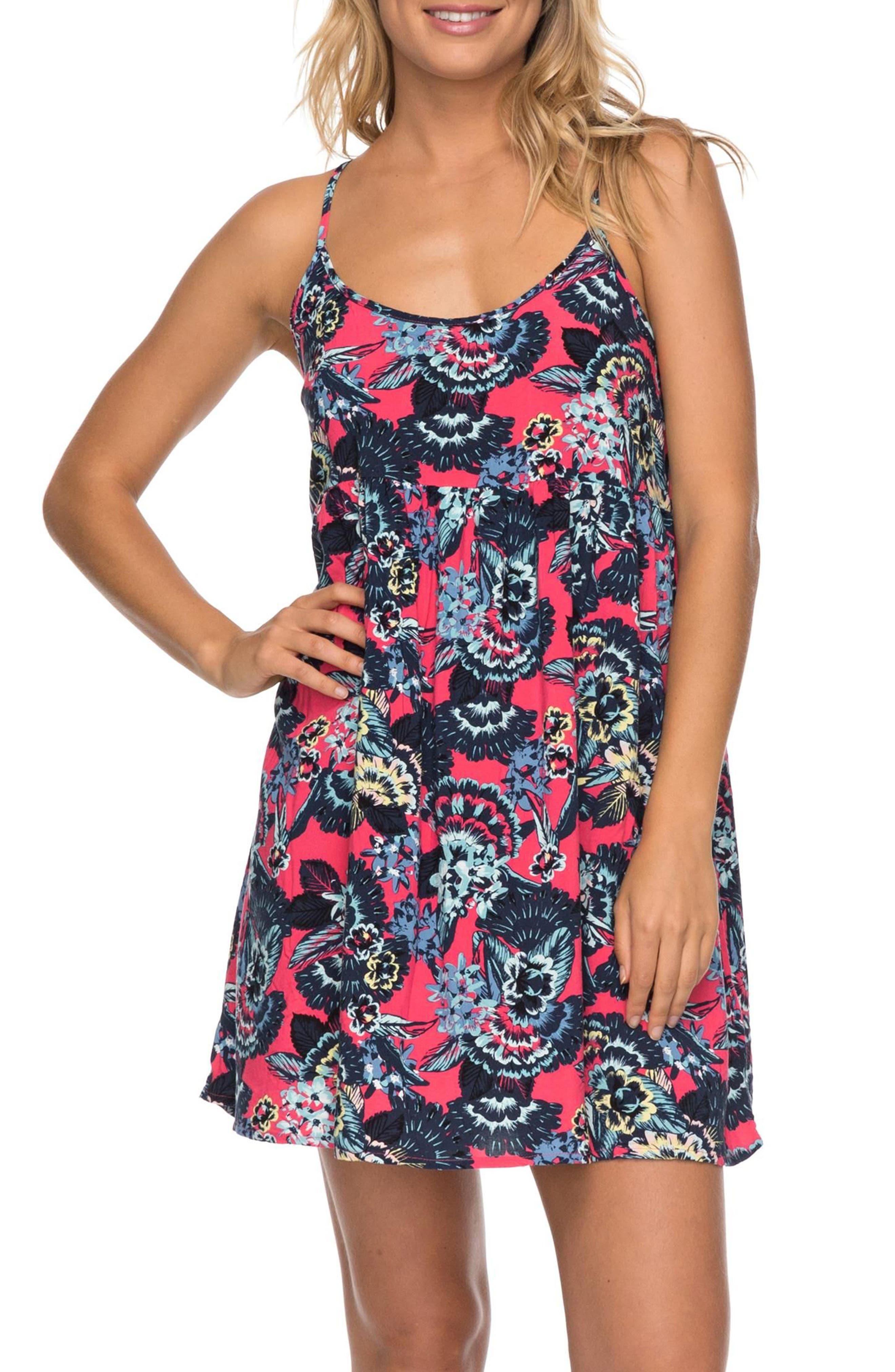 Tropical Sundance Print Babydoll Dress,                             Main thumbnail 3, color,