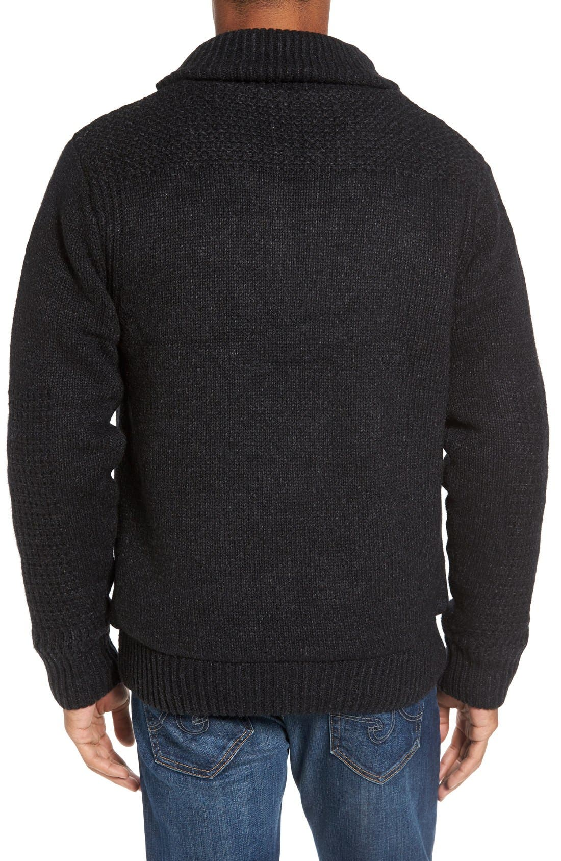 Lined Wool Zip Sweater,                             Alternate thumbnail 10, color,                             BLACK