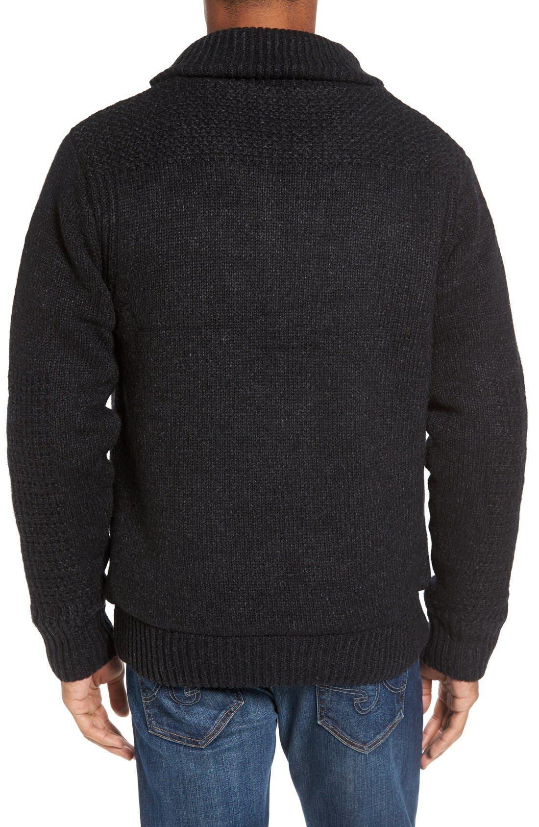 SCHOTT NYC,                             Lined Wool Zip Sweater,                             Alternate thumbnail 9, color,                             BLACK