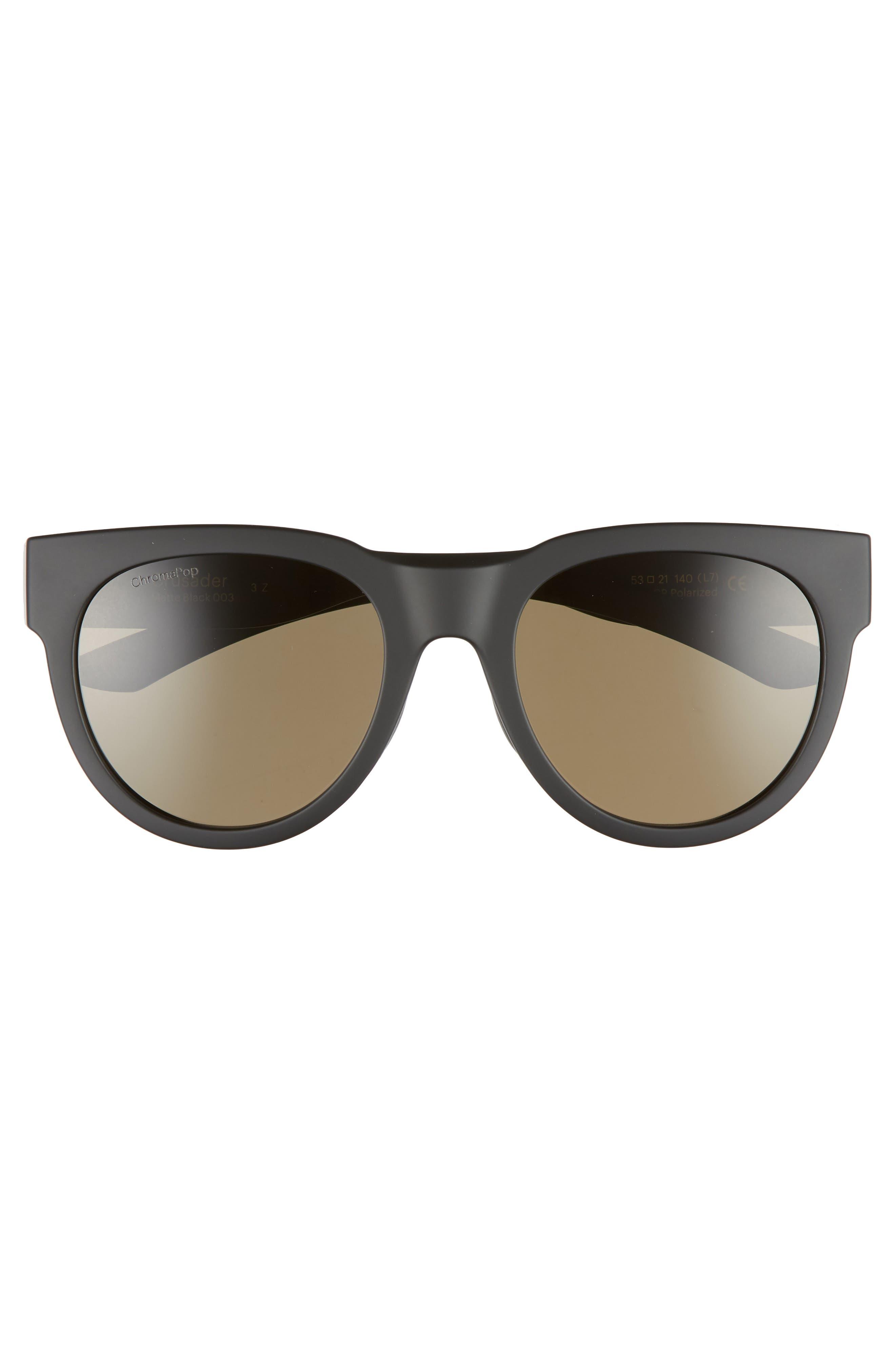 Crusader 53mm ChromaPop<sup>™</sup> Polarized Round Sunglasses,                             Alternate thumbnail 2, color,                             MATTE BLACK/ GREY GREEN