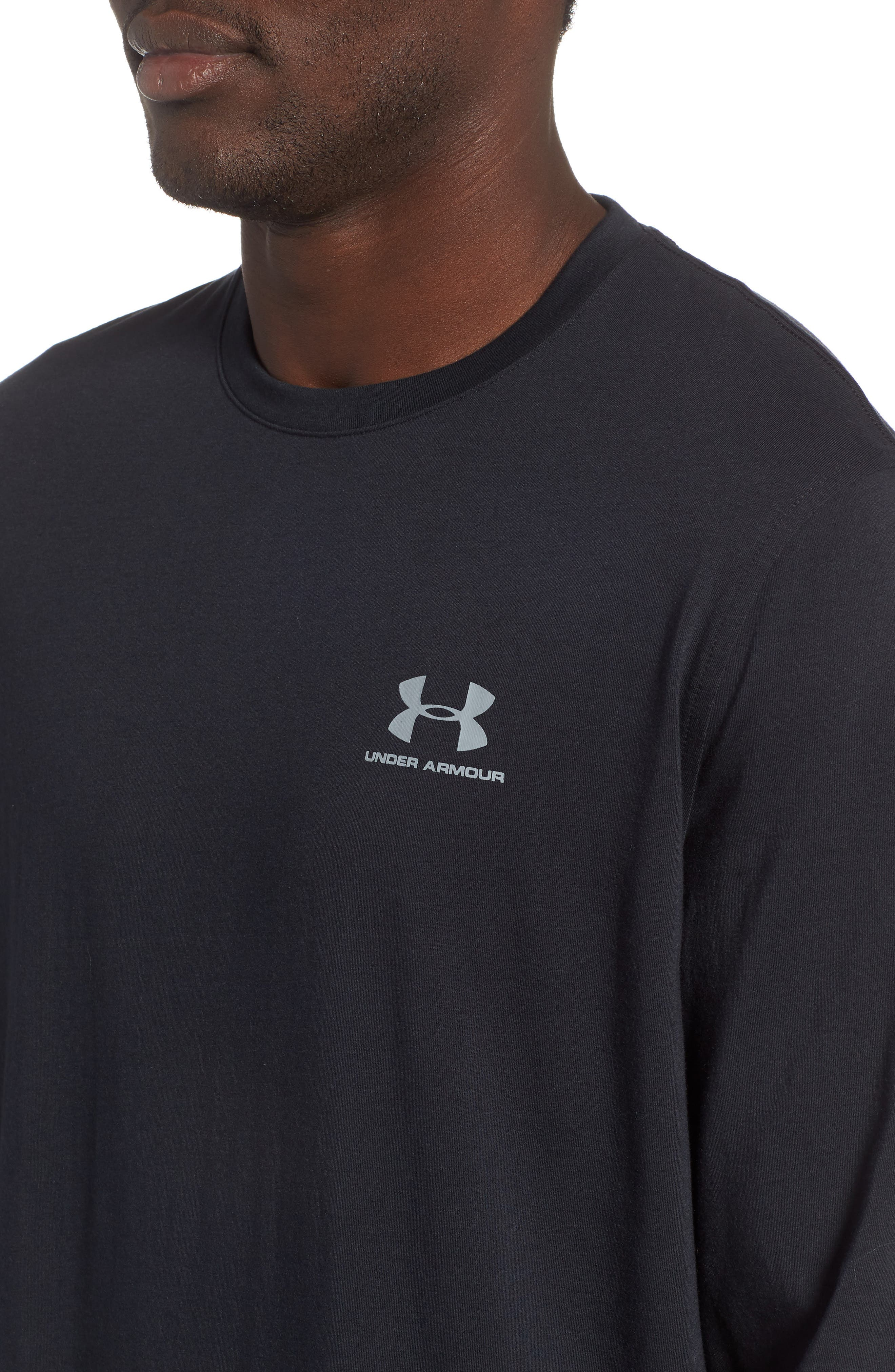HeatGear<sup>®</sup> Long Sleeve Performance T-Shirt,                             Alternate thumbnail 4, color,                             BLACK/ STEEL