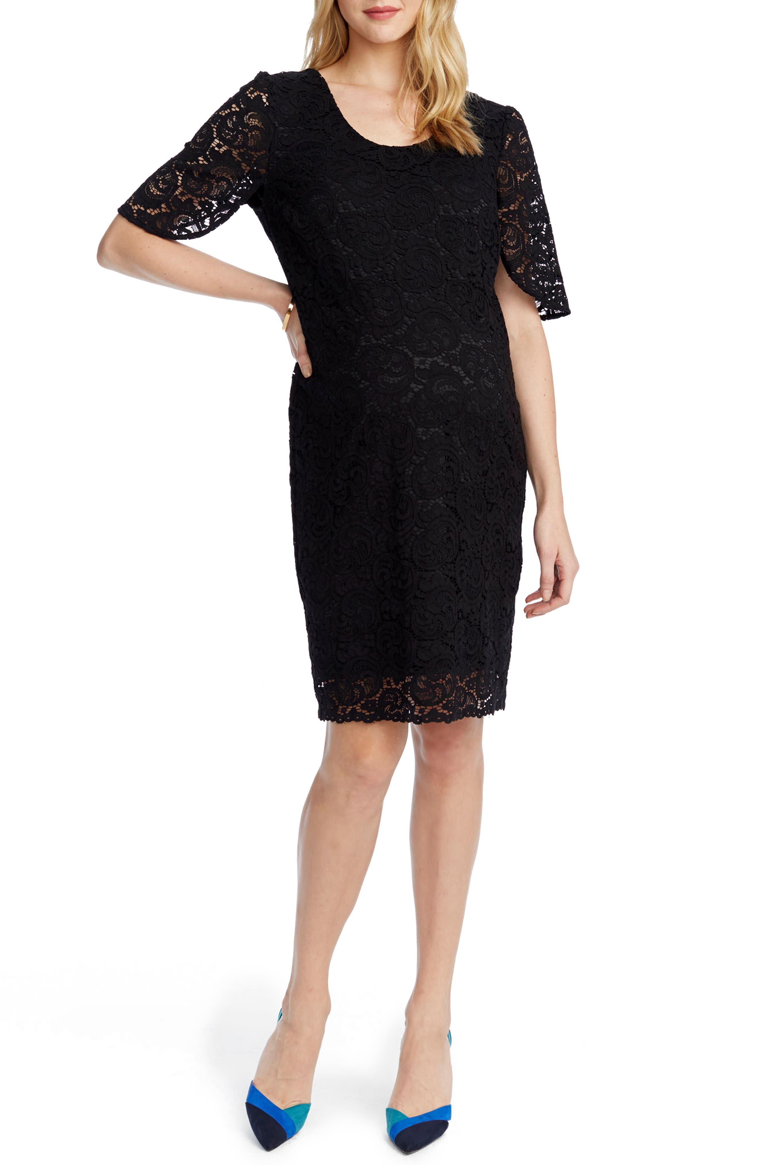 Lainey Lace Maternity Sheath Dress,                             Alternate thumbnail 3, color,                             BLACK