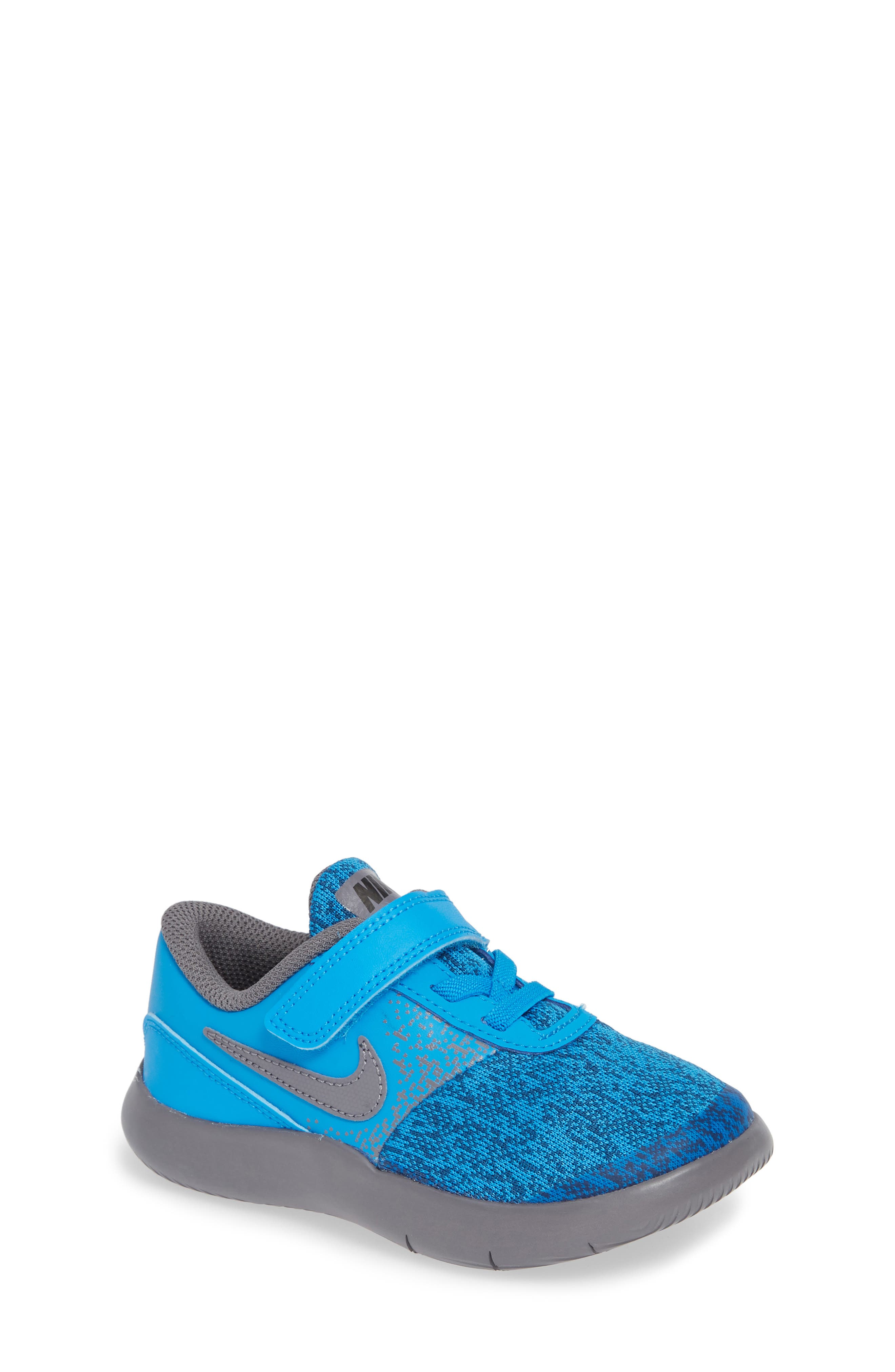 Flex Contact Running Shoe,                         Main,                         color, BLUE HERO/ GUNSMOKE/ GREEN