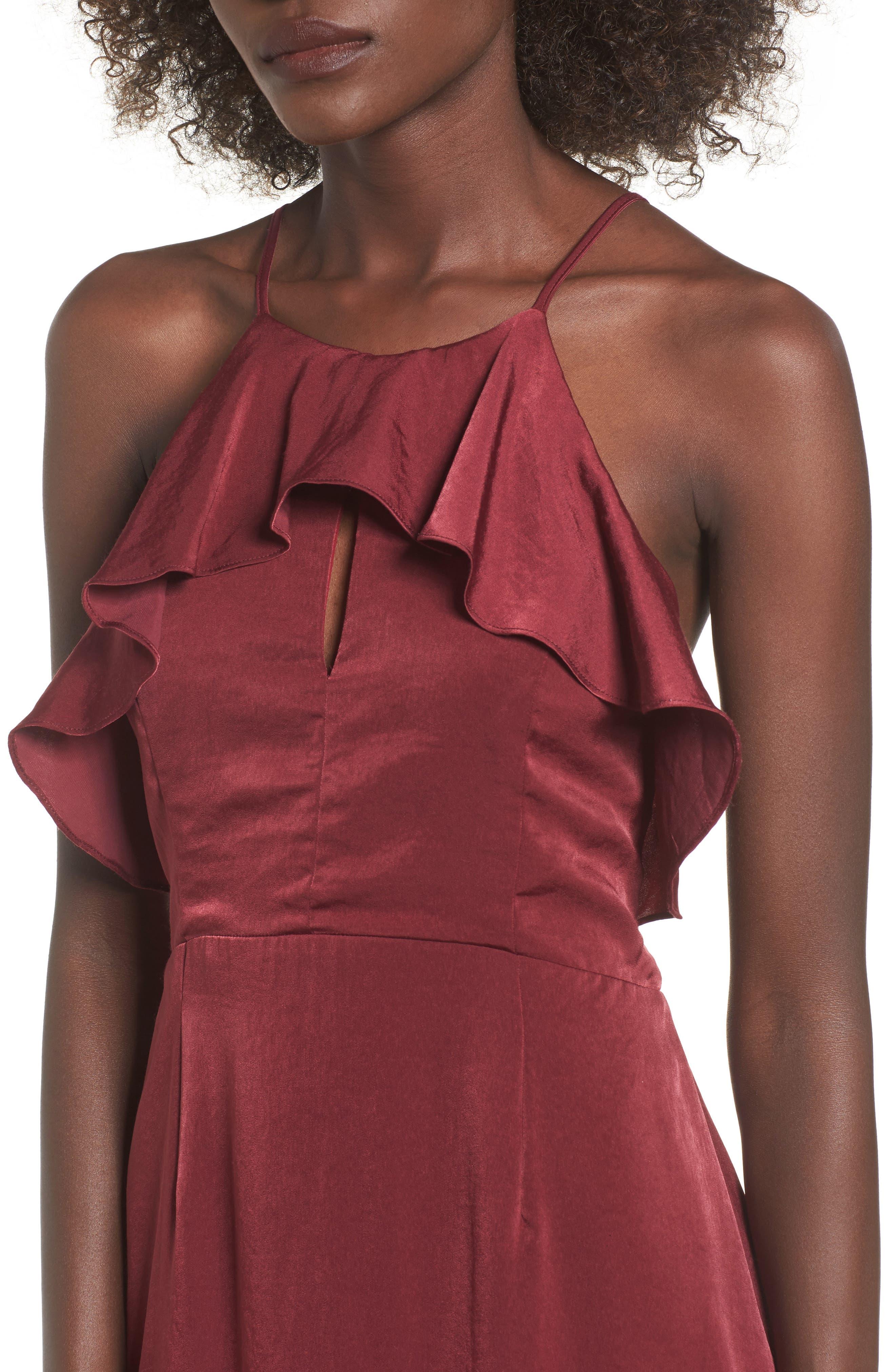 Ruffle Neck Satin Midi Dress,                             Alternate thumbnail 8, color,