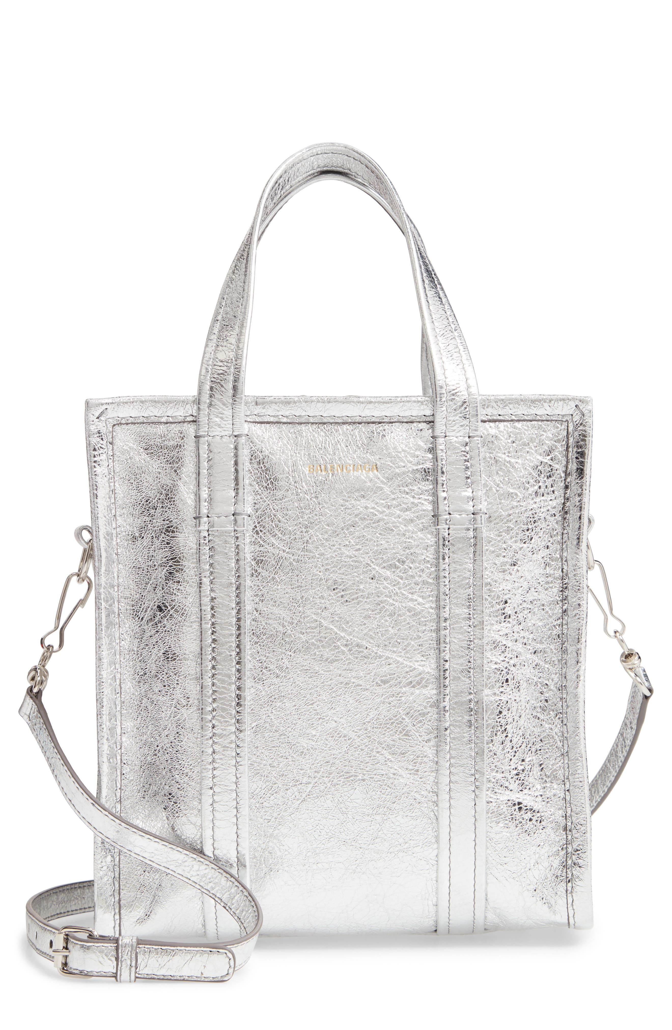 Extra Small Bazar Metallic Lambskin Leather Shopper, Main, color, ARGENT