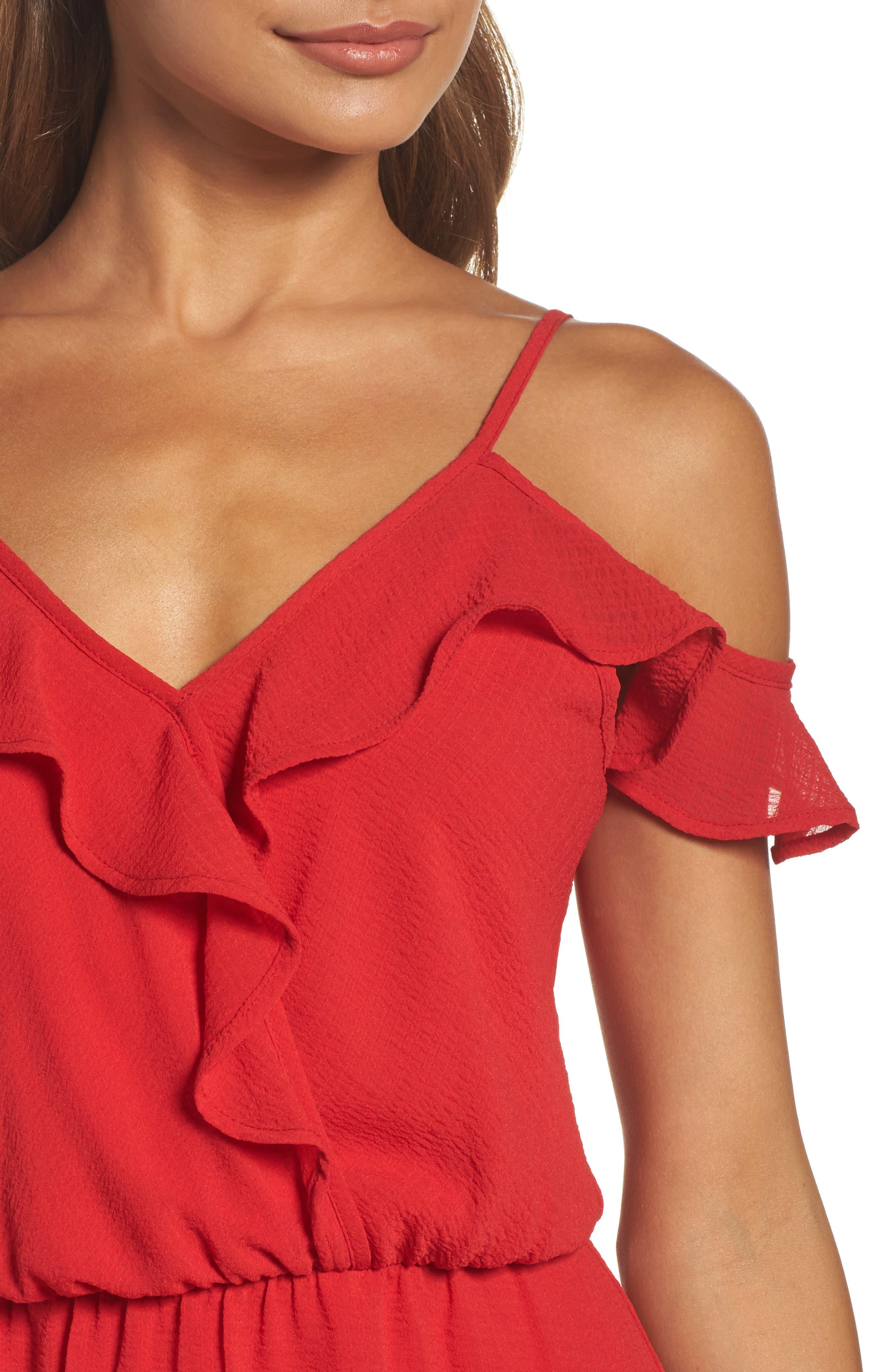 Ruffle Cold Shoulder Dress,                             Alternate thumbnail 4, color,                             821
