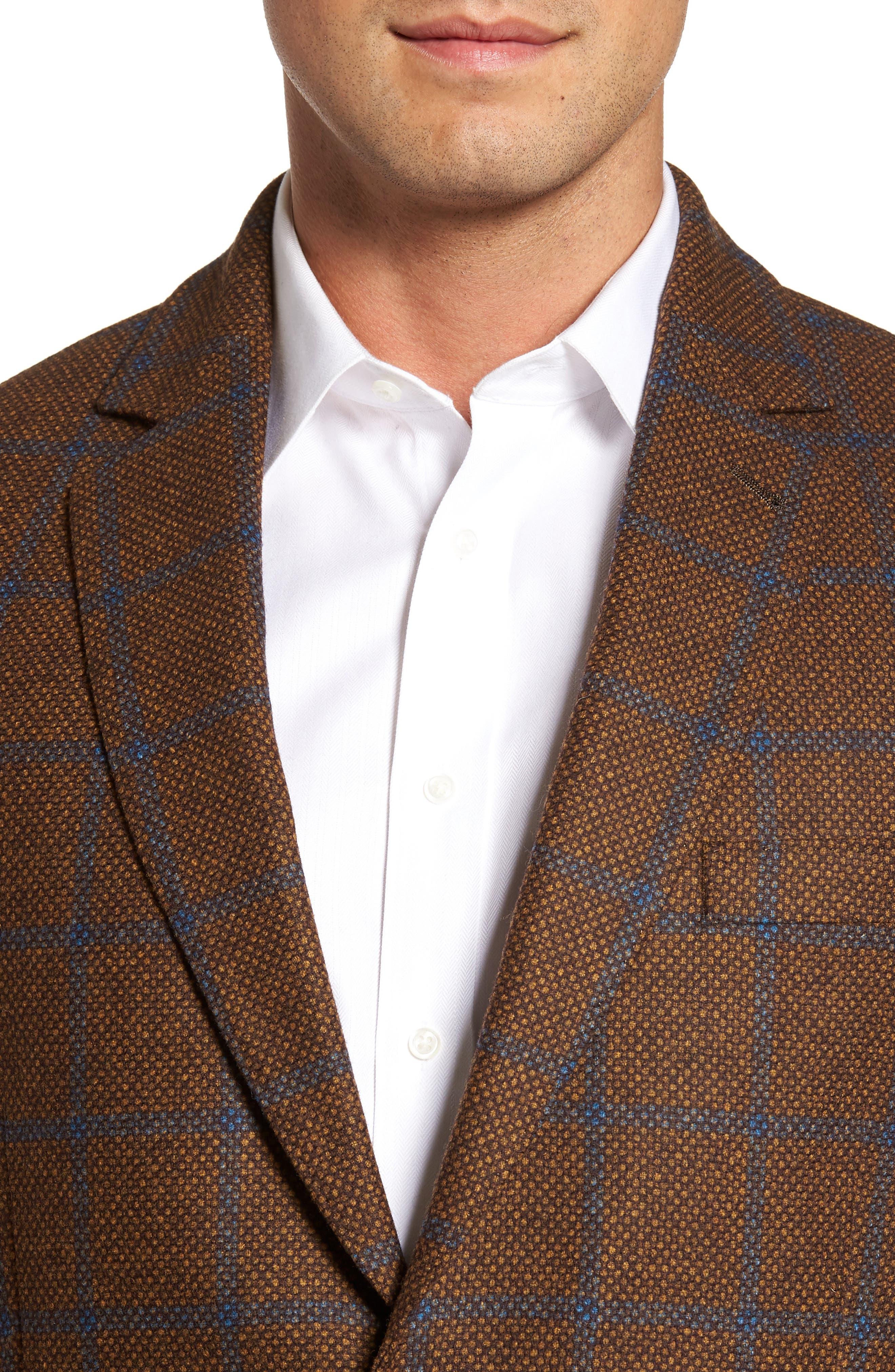 Classic Fit Windowpane Wool Sport Coat,                             Alternate thumbnail 4, color,                             220