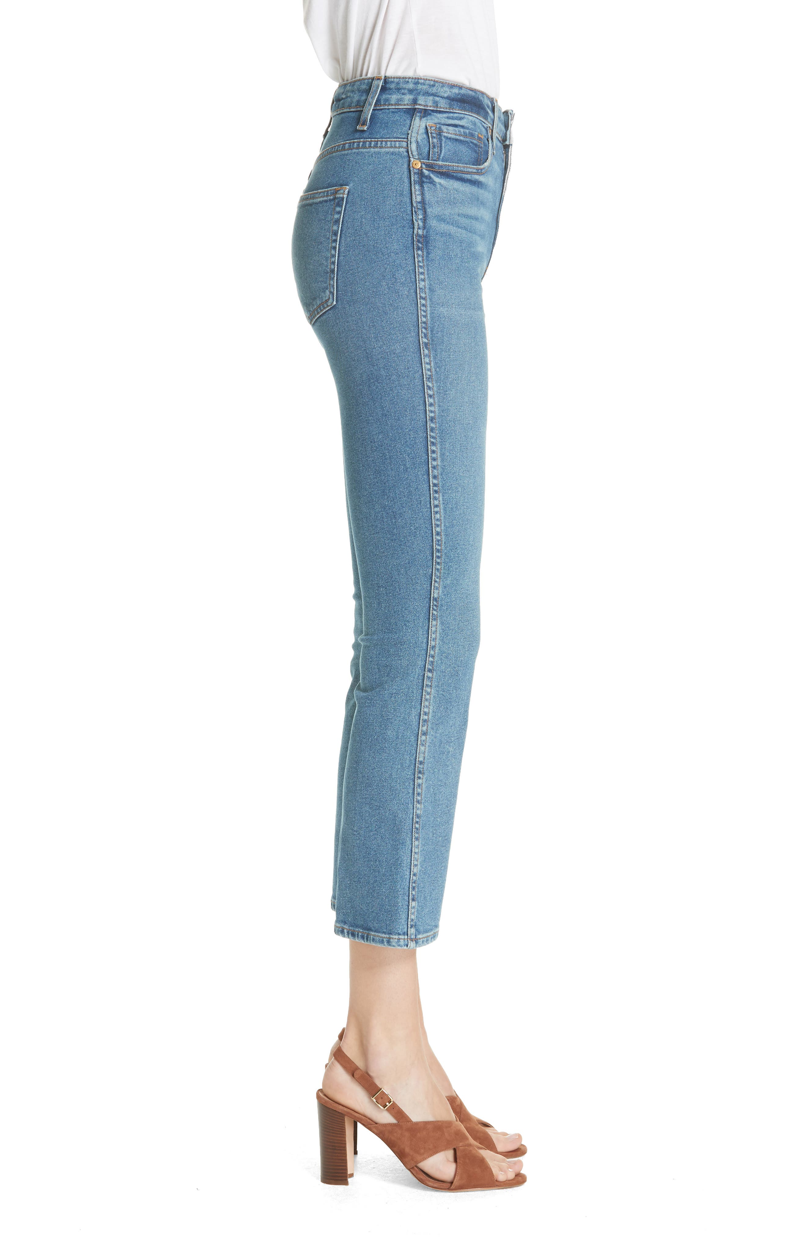 Benny Crop Flare Jeans,                             Alternate thumbnail 3, color,                             VINTAGE WASH