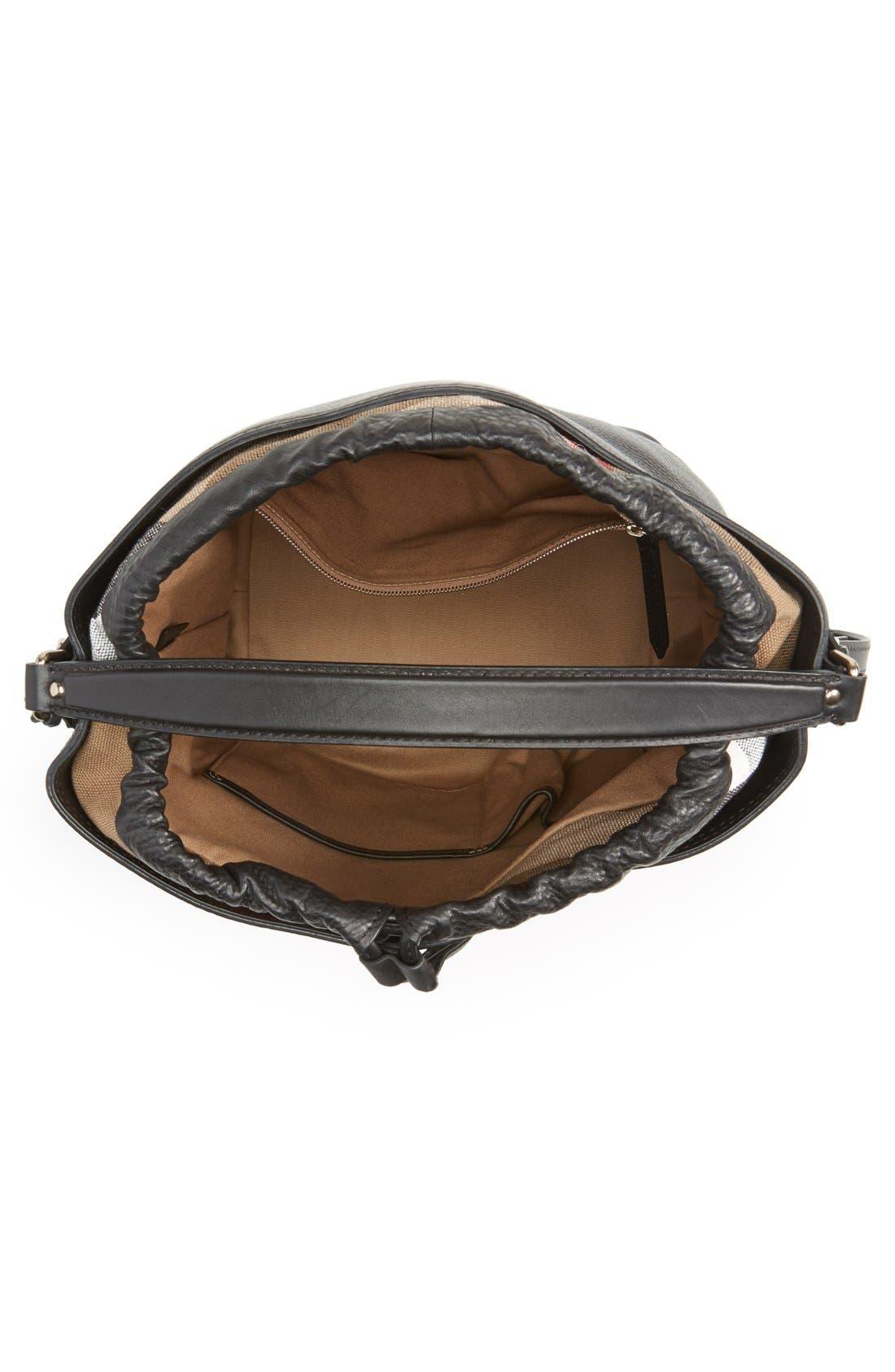 Brit 'Medium Susanna' Leather & Canvas Check Hobo Bag,                             Alternate thumbnail 4, color,                             001