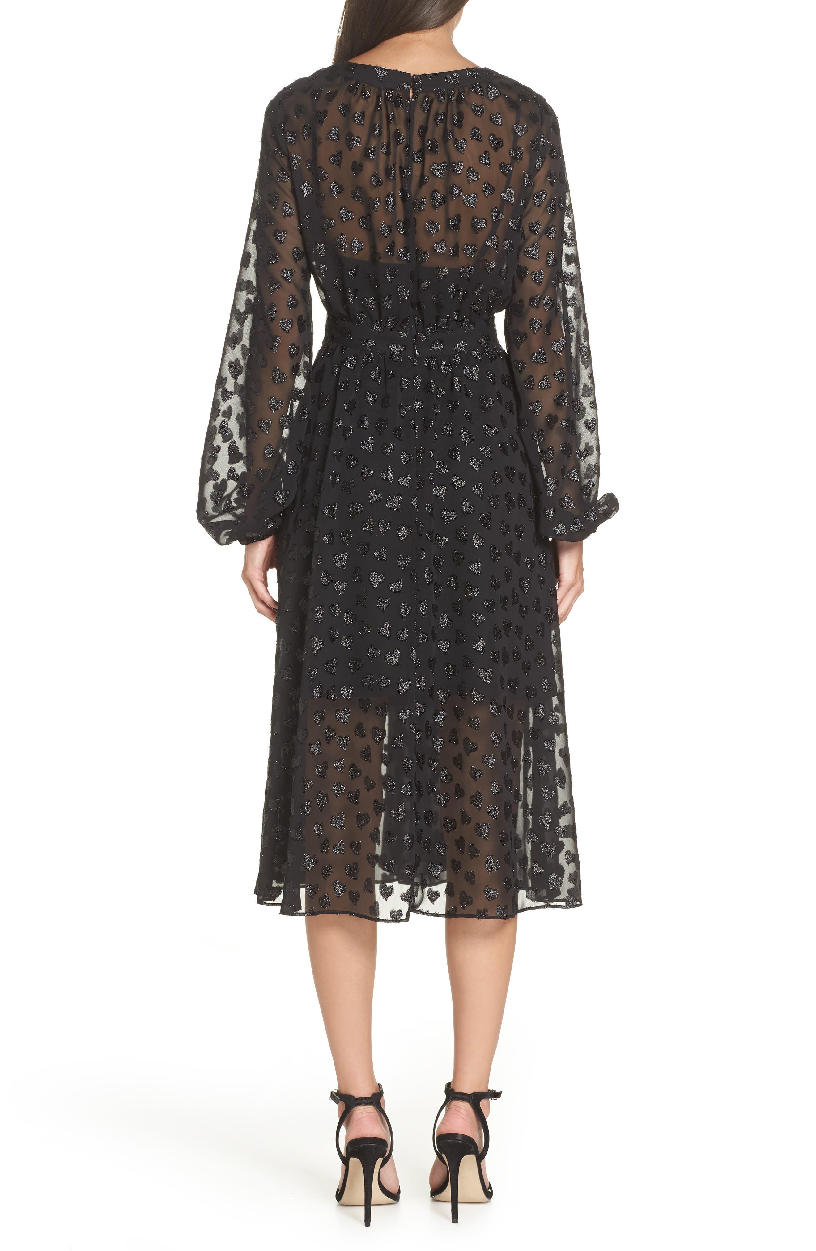 AVEC LES FILLES,                             Tea Length Metallic Mesh Dress,                             Alternate thumbnail 2, color,                             001