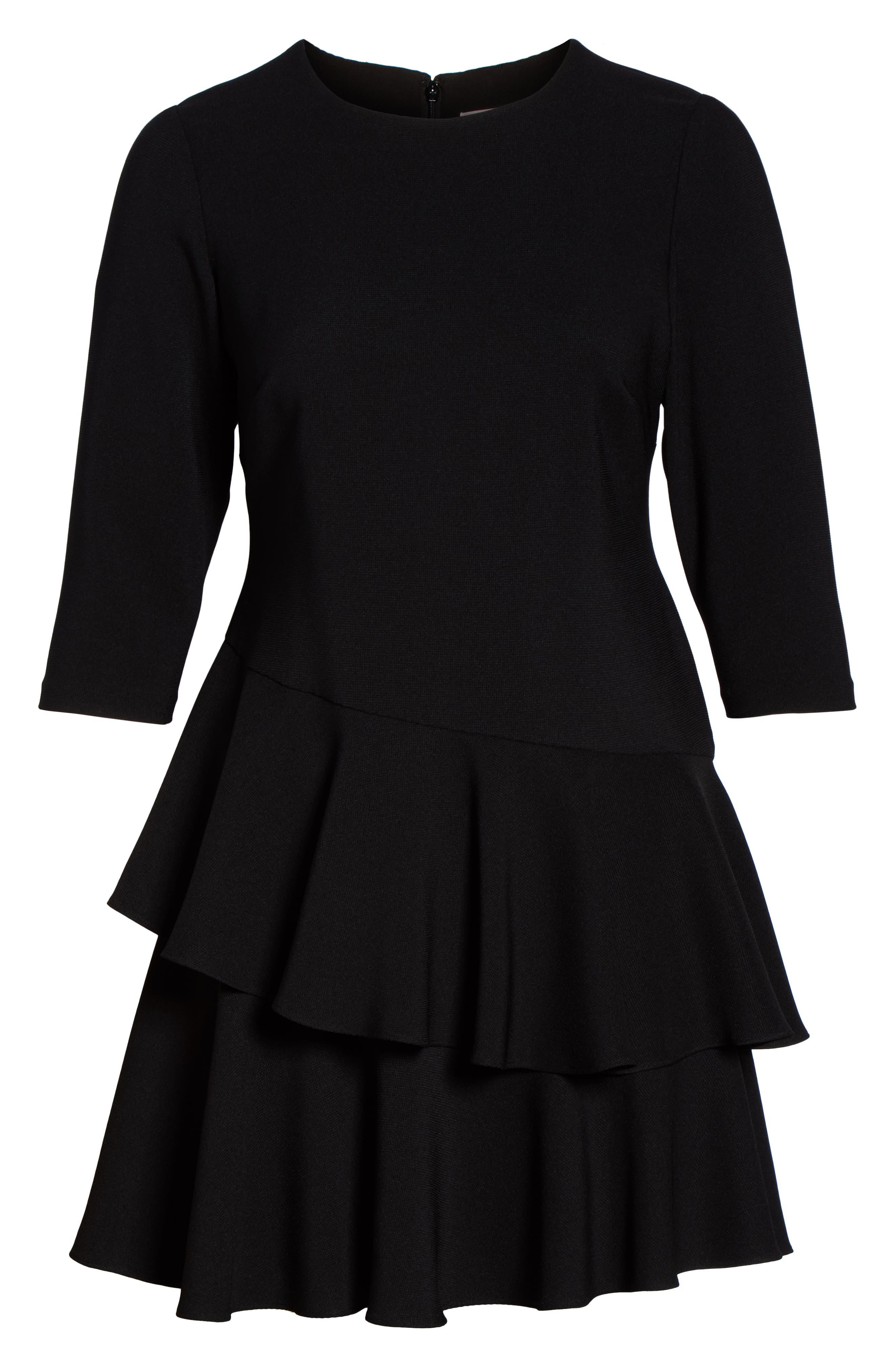 Ruffle Tiered Shift Dress,                             Alternate thumbnail 7, color,                             BLACK