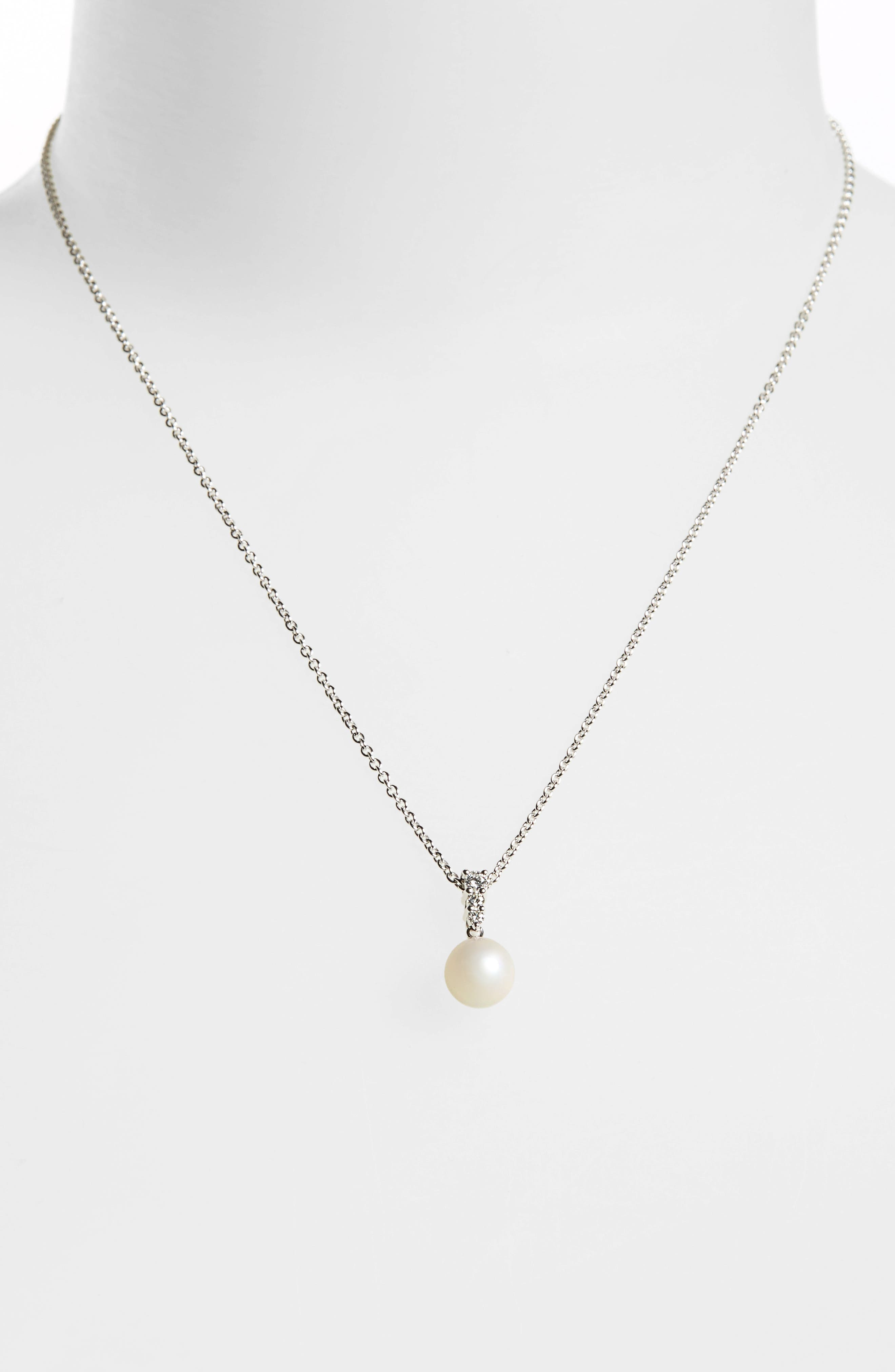 'Morning Dew' Akoya Cultured Pearl & Diamond Pendant Necklace,                             Alternate thumbnail 3, color,                             WHITE GOLD