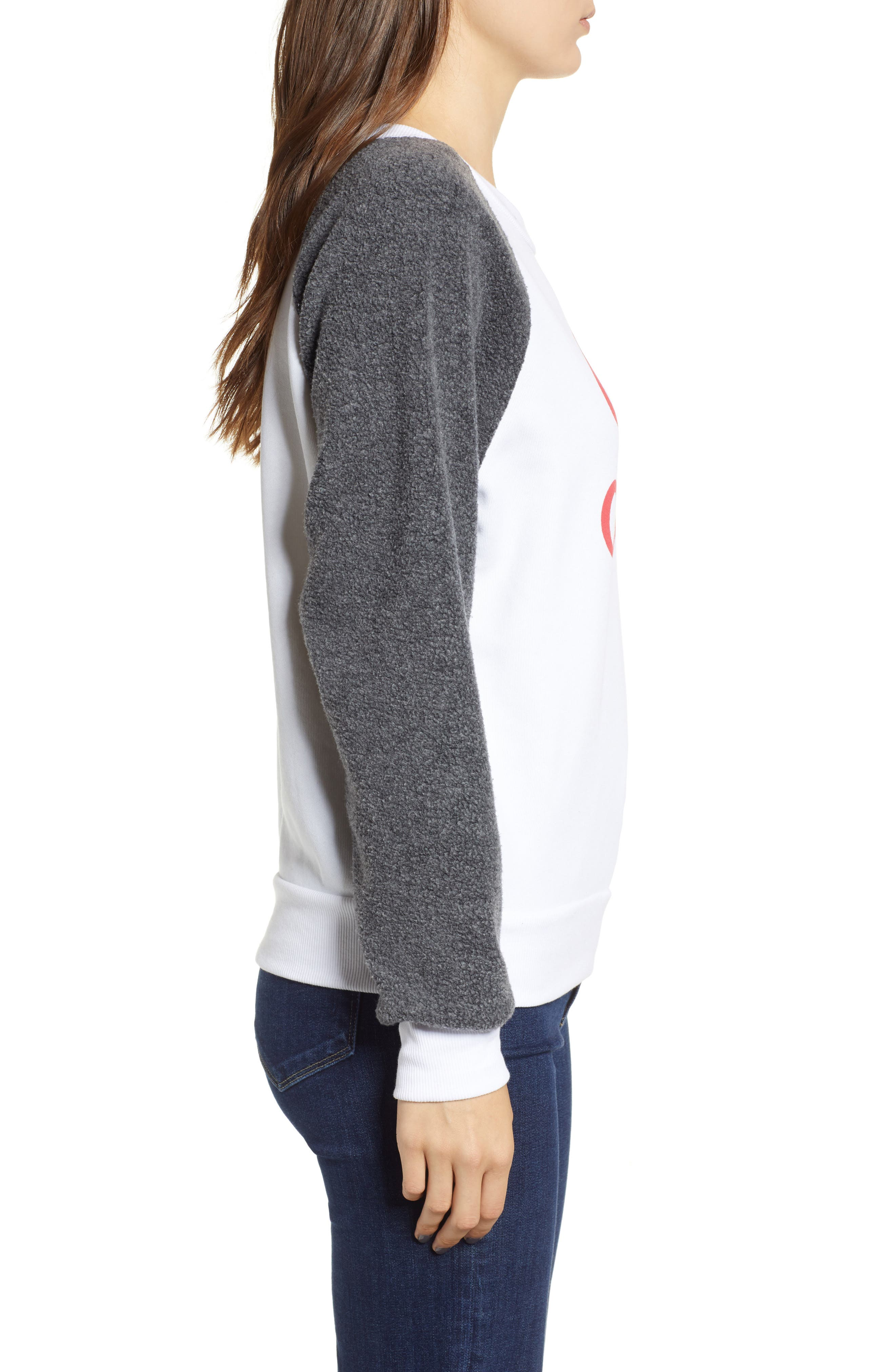 Fatale Fleece Sleeve Sweatshirt,                             Alternate thumbnail 3, color,                             CLEAN WHITE/ CLEAN BLACK
