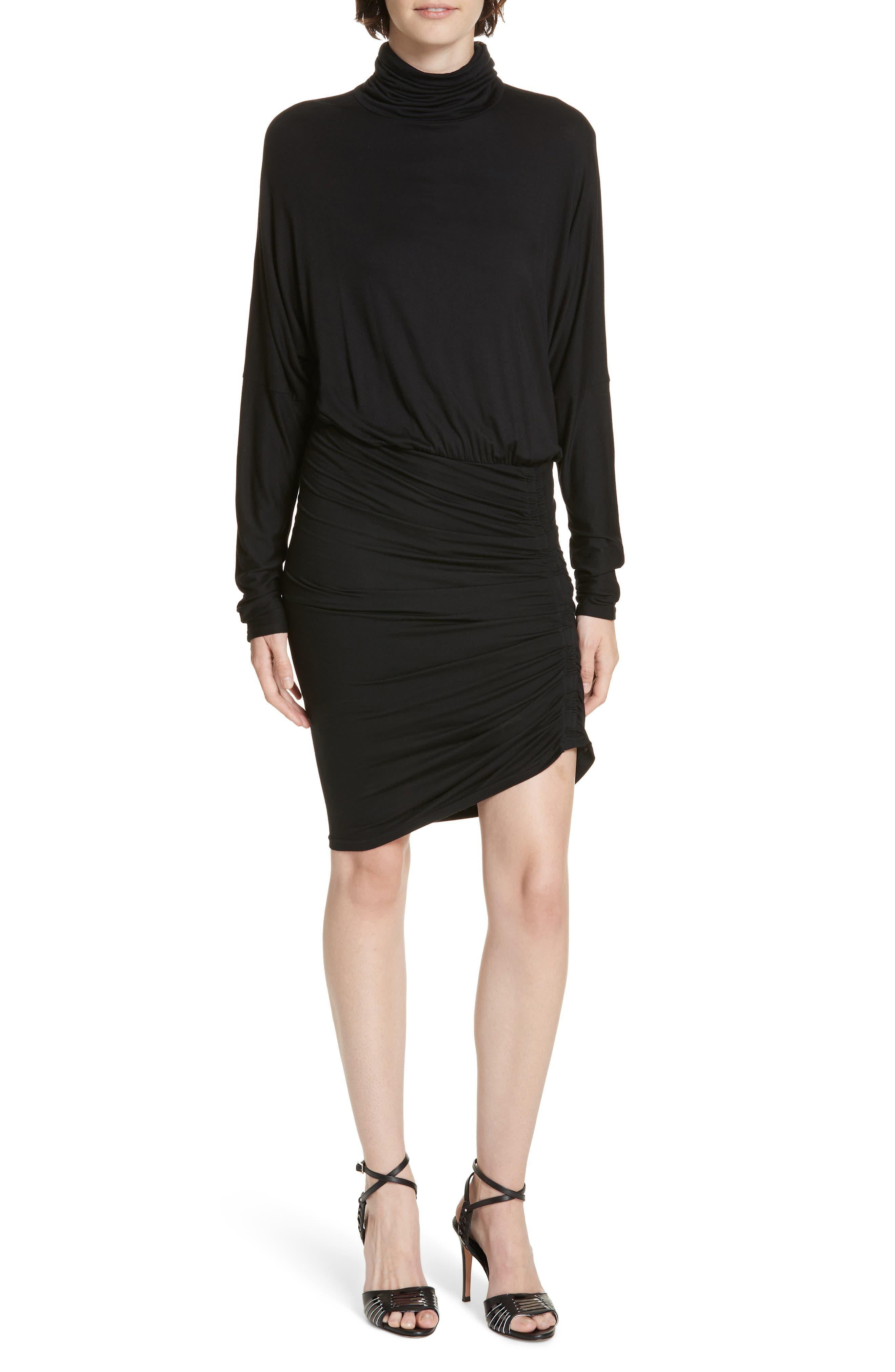 Manda Ruched Dress,                         Main,                         color, BLACK
