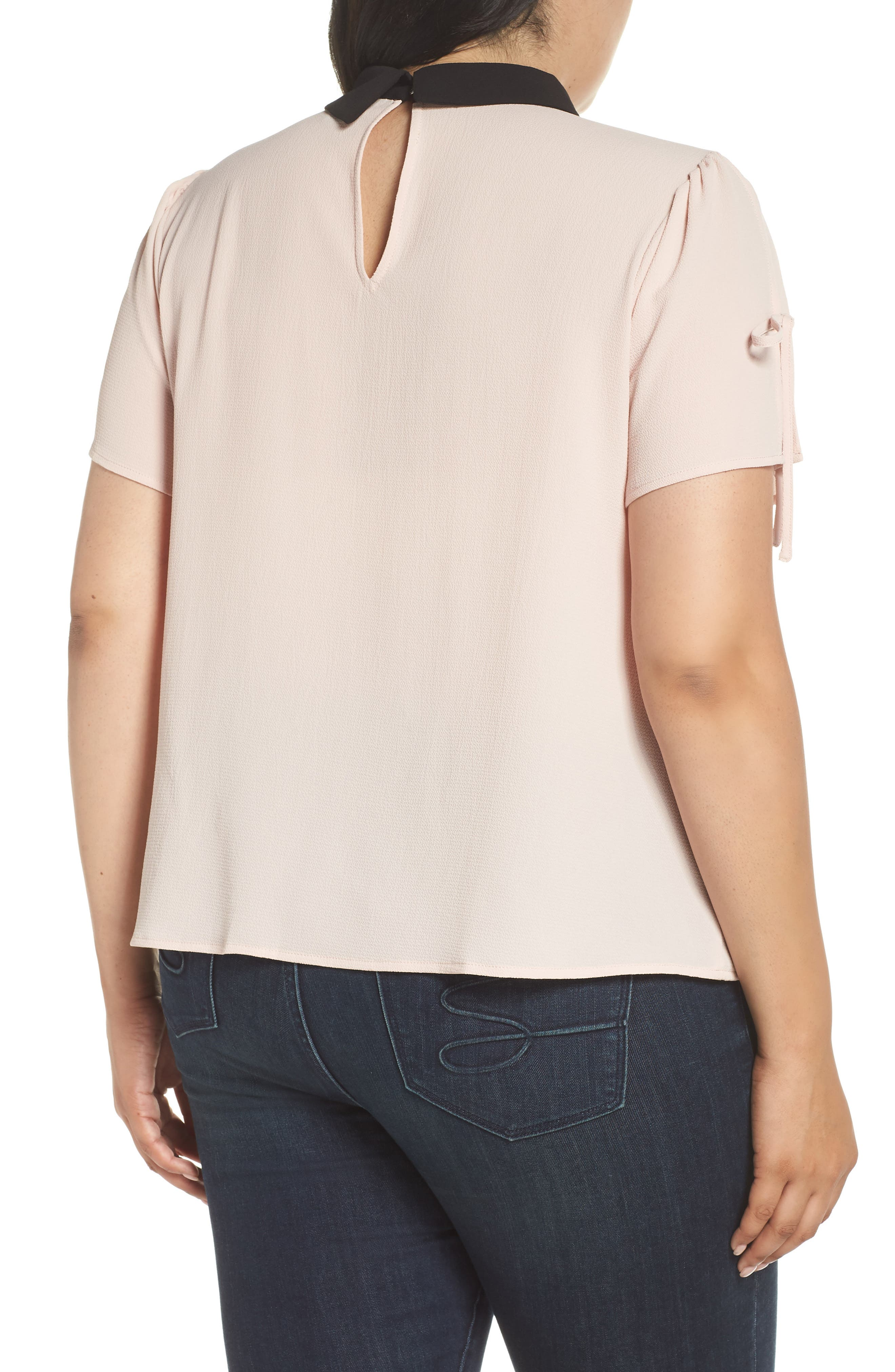 Contrast Collar Tie Sleeve Top,                             Alternate thumbnail 2, color,                             FADED PINK
