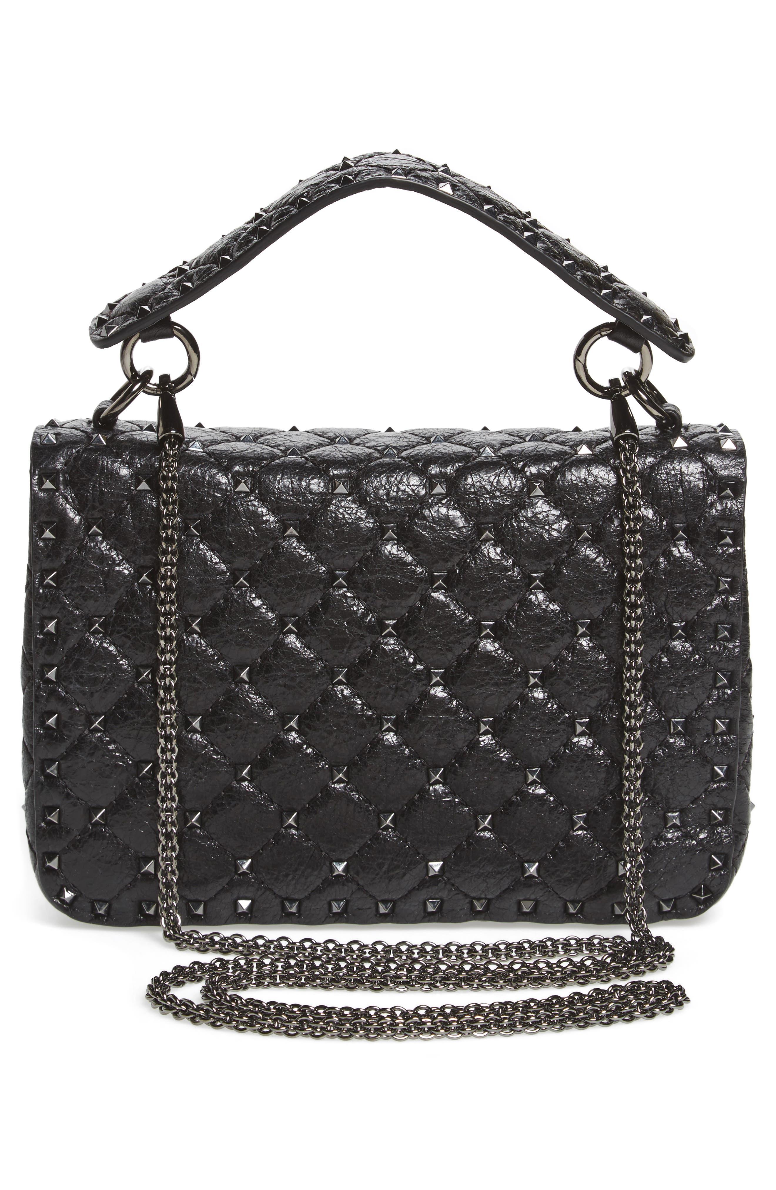 Medium Rockstud Spike Crossbody Bag,                             Alternate thumbnail 3, color,                             001