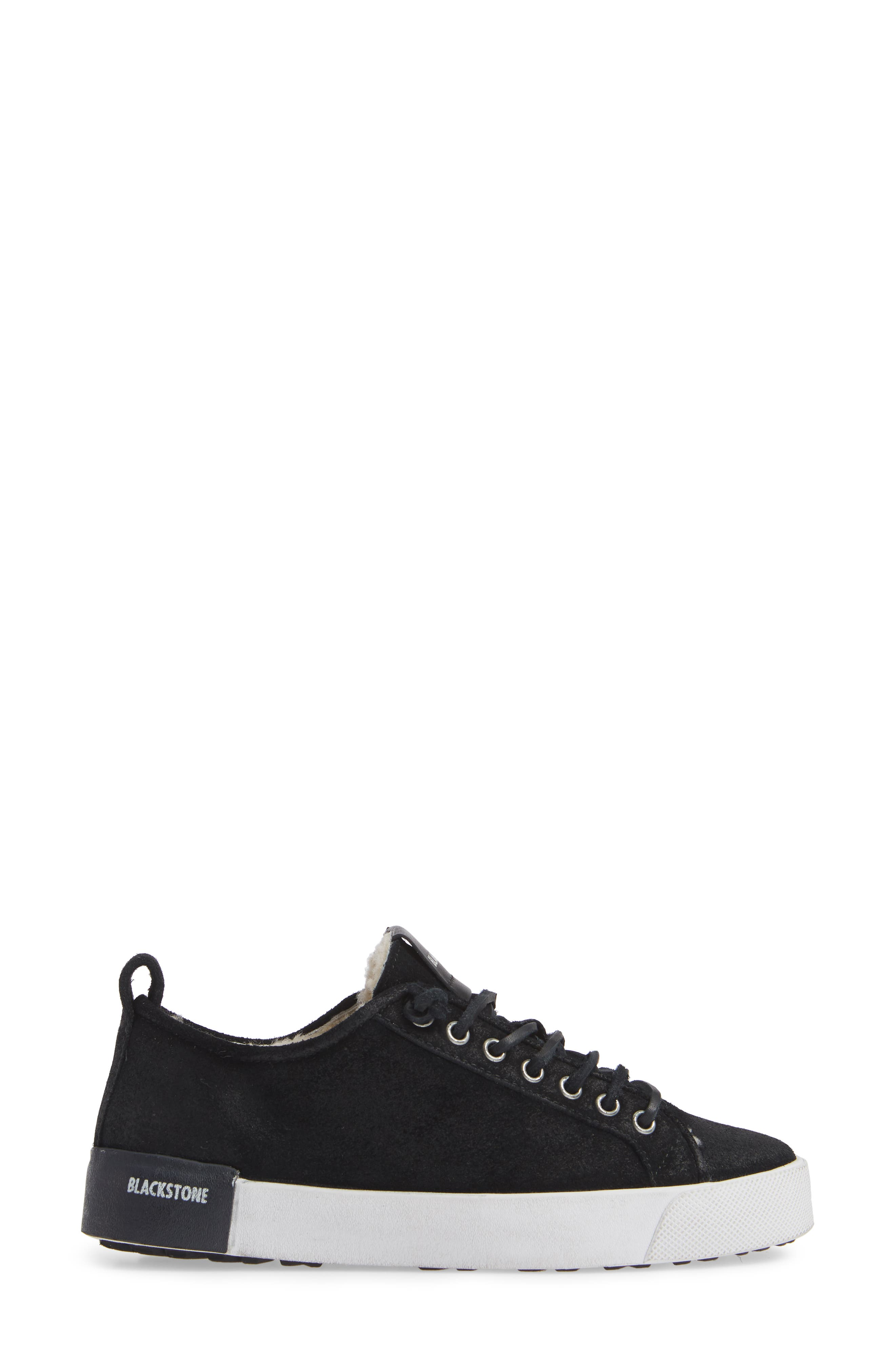 QL60 Genuine Shearling Lined Sneaker,                             Alternate thumbnail 3, color,                             BLACK LEATHER