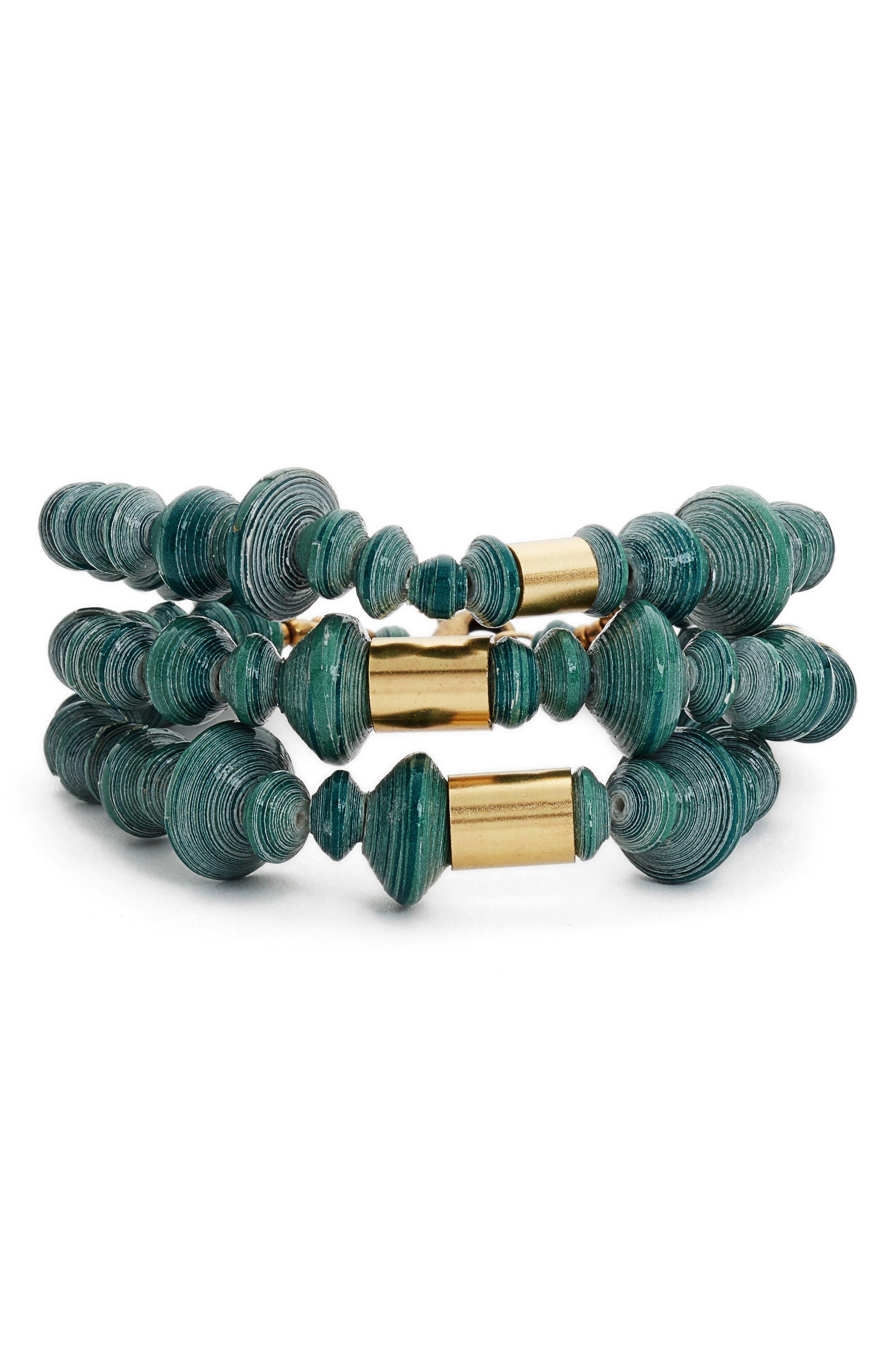 Juniper Strands Paper Bead Bracelet,                         Main,                         color, 300