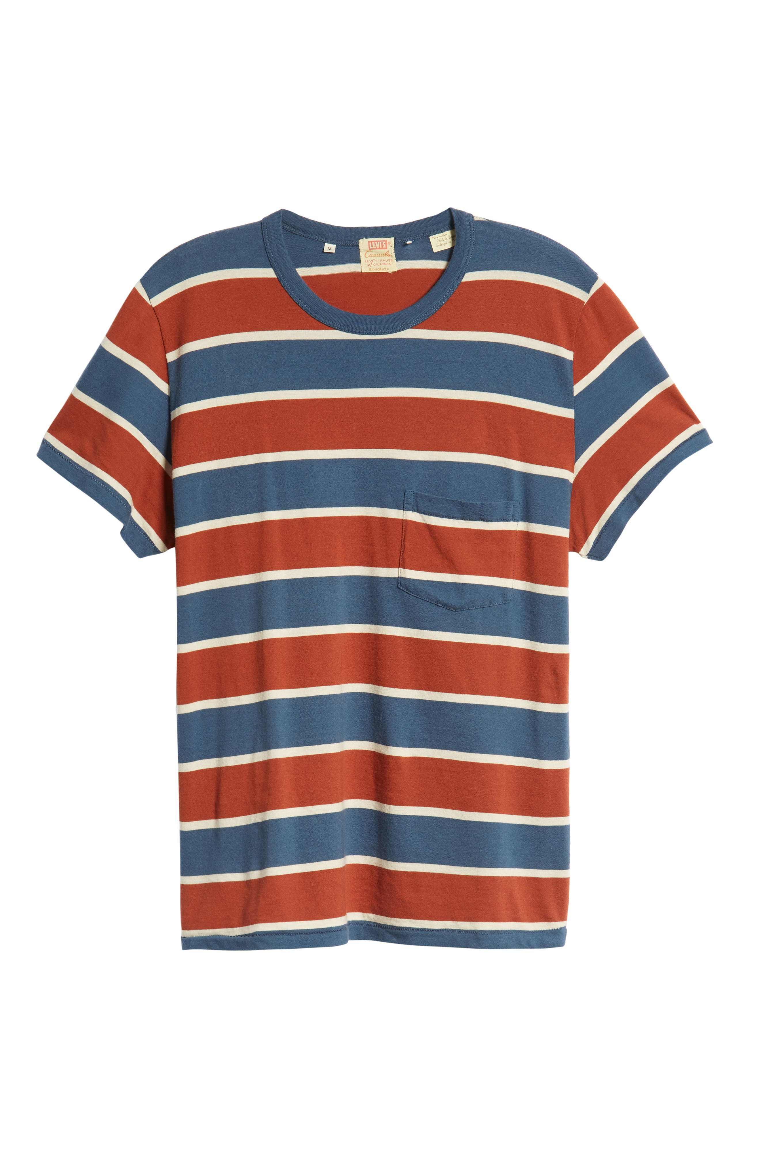 1960s Slim Fit Stripe T-Shirt,                             Alternate thumbnail 6, color,                             DARK DENIM MULTI STRIPE