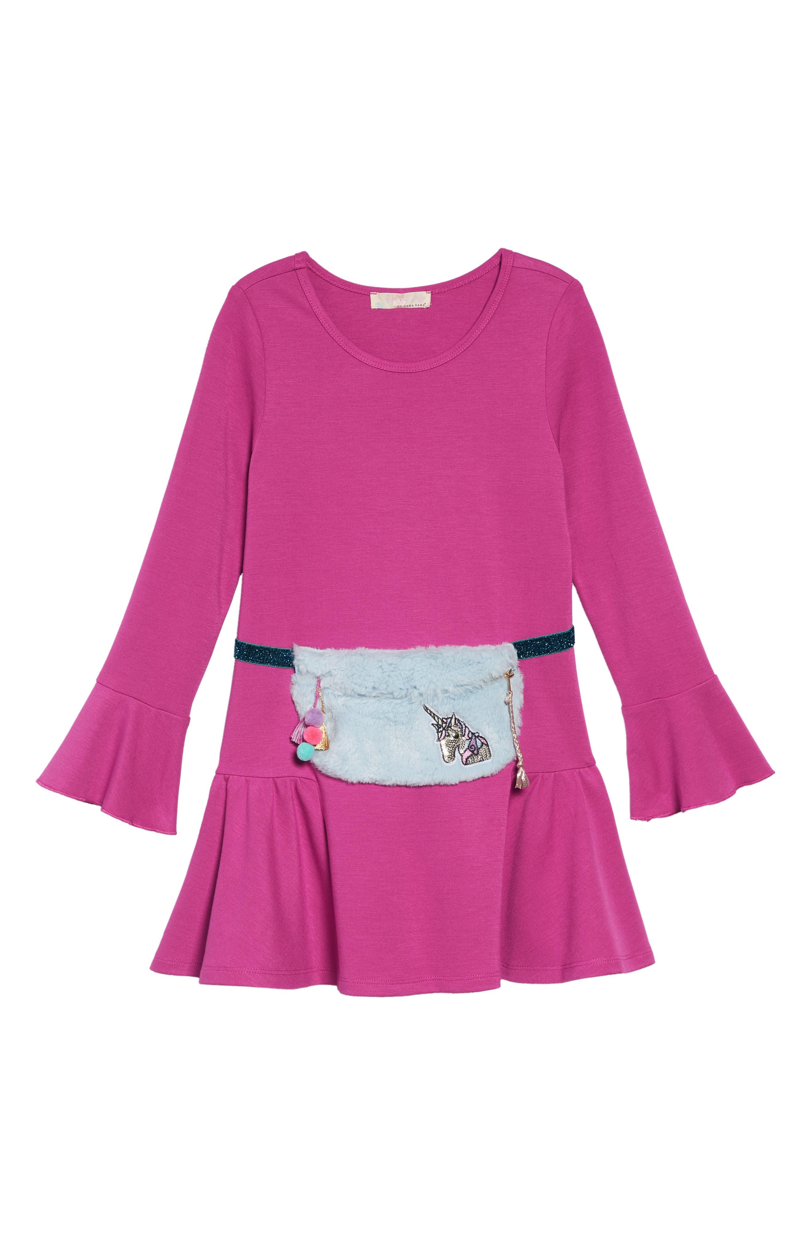 Knit Dress with Faux Fur Pouch,                             Alternate thumbnail 2, color,                             FUSCHIA